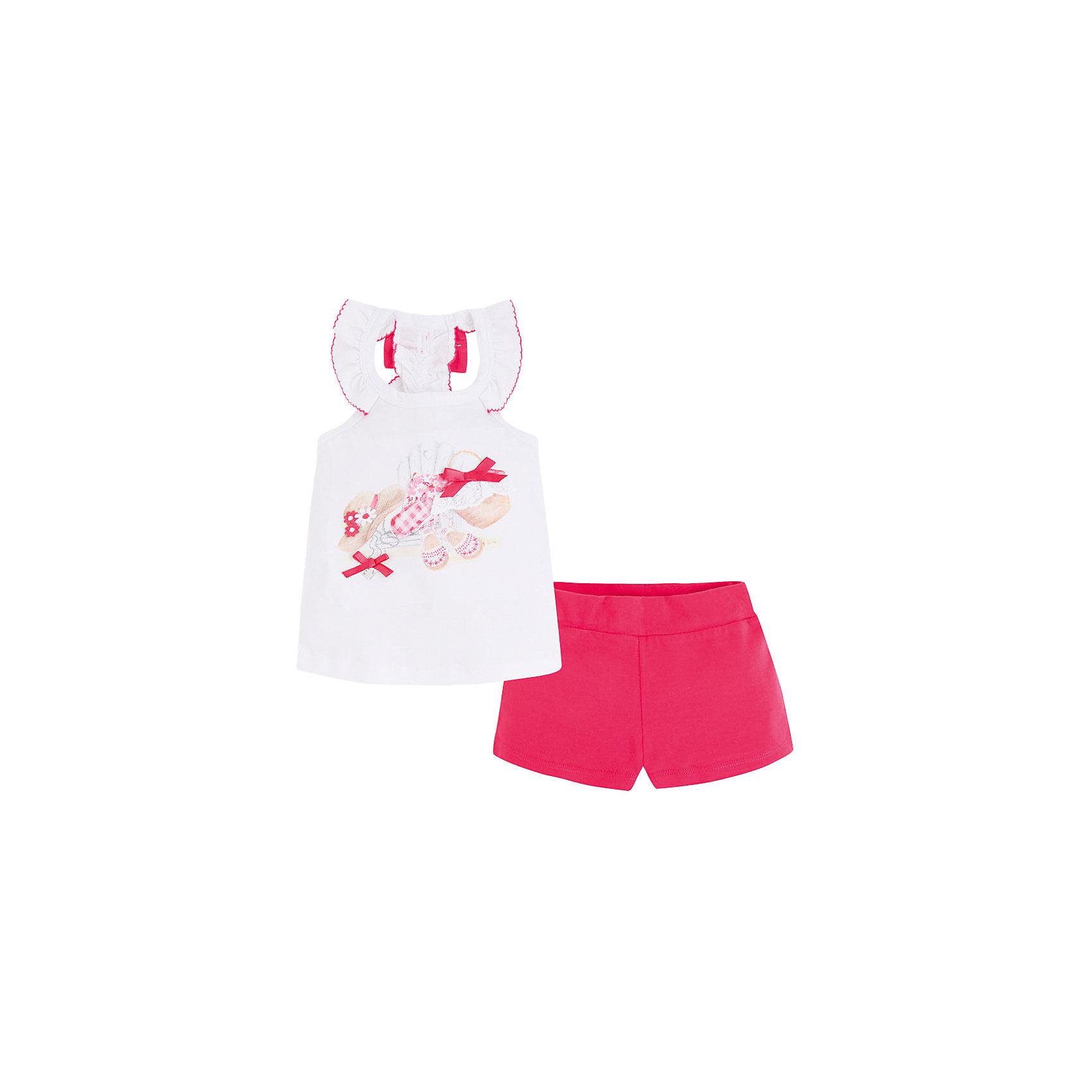 Комплект: майка и шорты для девочки MayoralКомплект для девочки: майка и шорты от известной испанской марки Mayoral - идеальный вариант для жаркой погоды! <br><br>Дополнительная информация:<br><br>- Мягкая трикотажная ткань. <br>- Округлый вырез горловины.<br>- Без рукавов.<br>- Майка с рюшами на вороте. <br>- Принт и декоративные атласные бантики на груди.<br>- Яркий бант на спине. <br>- Шорты на эластичном поясе.<br>- Состав: 100% хлопок.<br><br>Комплект для девочки: майку и шорты Mayoral (Майорал) можно купить в нашем магазине.<br><br>Ширина мм: 191<br>Глубина мм: 10<br>Высота мм: 175<br>Вес г: 273<br>Цвет: красный<br>Возраст от месяцев: 60<br>Возраст до месяцев: 72<br>Пол: Женский<br>Возраст: Детский<br>Размер: 116,134,122,110,104,98,128<br>SKU: 4543765