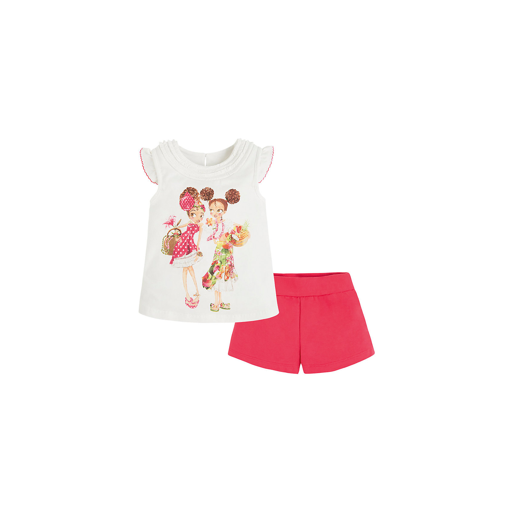 Комплект для девочки: футболка и шорты MayoralКомплект для девочки: футболка и шорты от известной испанской марки Mayoral - идеальный вариант для жаркой погоды! <br><br>Дополнительная информация:<br><br>- Мягкая трикотажная ткань. <br>- Округлый вырез горловины.<br>- Футболка с рюшами на вороте. <br>- Яркий принт спереди. <br>- Застегивается на пуговицу на спине. <br>- Шорты на эластичном поясе.<br>- Регулируются на талии. <br>- Состав: 95% хлопок, 5% эластан.<br><br>Комплект для девочки: футболку и шорты Mayoral (Майорал) можно купить в нашем магазине.<br><br>Ширина мм: 191<br>Глубина мм: 10<br>Высота мм: 175<br>Вес г: 273<br>Цвет: красный<br>Возраст от месяцев: 48<br>Возраст до месяцев: 60<br>Пол: Женский<br>Возраст: Детский<br>Размер: 110,98,134,116,122,128,104<br>SKU: 4543773