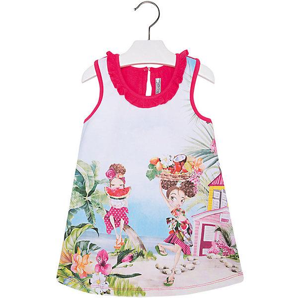 Платье для девочки MayoralПлатья и сарафаны<br>Платье для девочки от известной испанской марки Mayoral яркий и стильный вариант для юных модниц.<br><br>Дополнительная информация:<br><br>- Крой: трапеция.<br>- Округлый вырез горловины с оборками.<br>- Без рукавов.<br>- Яркий принт. <br>- Застегивается на пуговицу на спине.<br>- Состав:  95% хлопок, 5% эластан. <br><br>Платье для девочки Mayoral (Майорал) можно купить в нашем магазине.<br><br>Ширина мм: 236<br>Глубина мм: 16<br>Высота мм: 184<br>Вес г: 177<br>Цвет: красный<br>Возраст от месяцев: 48<br>Возраст до месяцев: 60<br>Пол: Женский<br>Возраст: Детский<br>Размер: 110,134,92,98,104,116,122,128<br>SKU: 4543894
