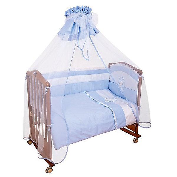 Постельное белье Пушистик 7 пред., Сонный гномик, голубойПостельное белье в кроватку новорождённого<br>Постельное белье Пушистик подарит малышам самые добрые сны. Деликатные швы, рассчитанные на прикосновение к нежной коже ребёнка обеспечат комфорт и уют. Набор декорирован шитьем ручной работы, мягкими бантами и вышитой аппликацией.<br>Высокий бортик со съёмными чехлами на весь периметр кроватки, гарантирует безопасность и удобство. Постельное белье выполнено из натурального хлопка, очень приятно к телу, экологично, подходит для детей с рождения. <br><br>Дополнительная информация:<br><br>- Комплектация: наволочка, пододеяльник, простыня, одеяло, подушка, бортик, балдахин.<br>- Наполнитель бортика: ХоллКон (плотностью 500).<br>- Наполнитель одеяла и подушки: синтетическое волокно Лебяжий Пух.<br>- Выпускается для кроваток размером 120х60 см.<br>- Состав ткани:100% хлопок (сатин).<br>- Размер наволочки: 40х60см<br>- Размер пододеяльника: 110х140см.<br>- Размер простыни: 140х100см.<br>- Размер бортика: 380 см (раздельный на 4 стороны со съёмными чехлами, высота 50см).<br>- Размер одеяла: 110х140 см.<br>- Размер подушки: 40х60 см.<br>- Большой балдахин из роскошного кружева.<br><br>Постельное белье Пушистик, Сонный гномик, голубой, можно купить в нашем магазине.<br>Ширина мм: 650; Глубина мм: 200; Высота мм: 500; Вес г: 3700; Возраст от месяцев: 0; Возраст до месяцев: 48; Пол: Женский; Возраст: Детский; SKU: 4544726;