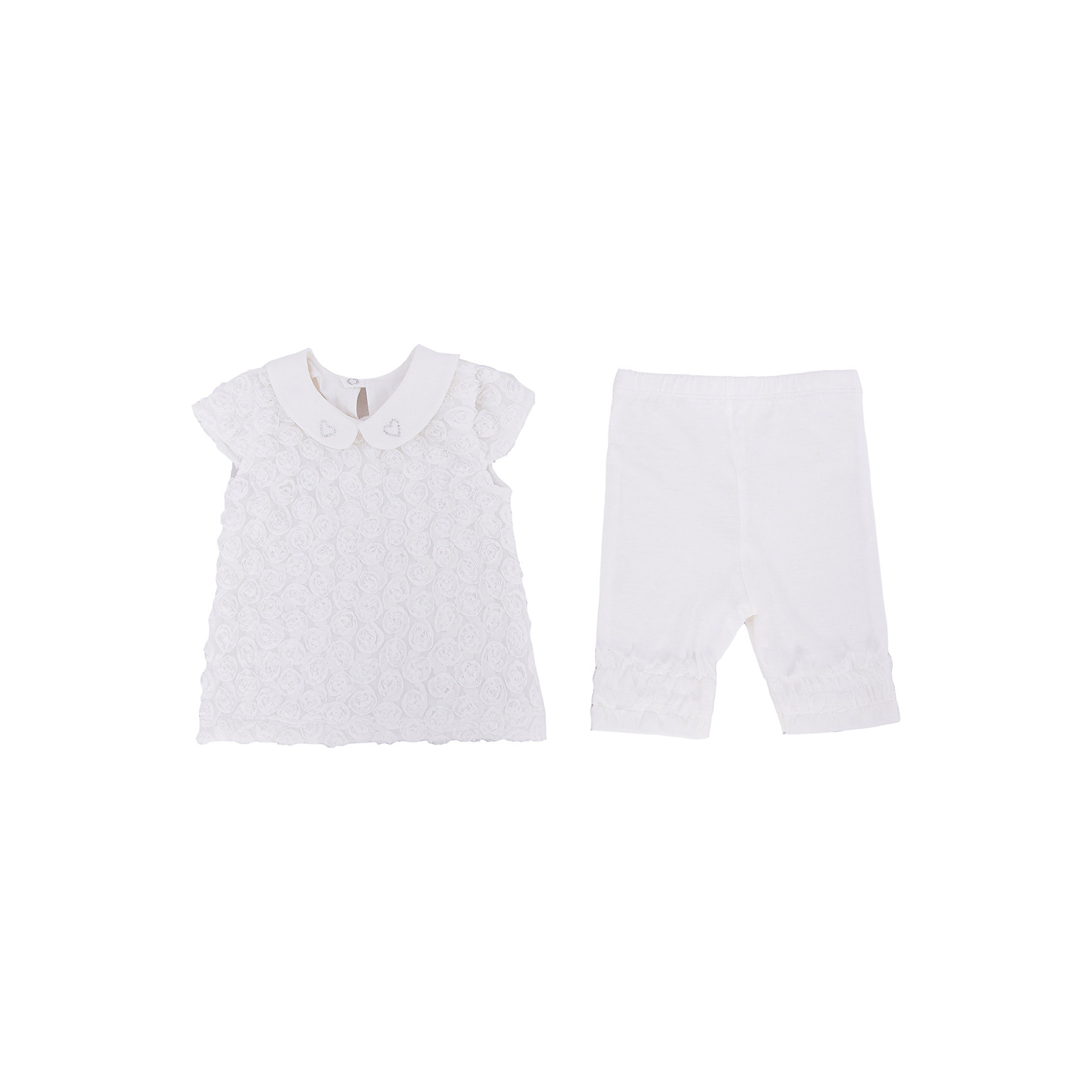 Комплект: футболка и бриджи для девочки Soni KidsКомплекты<br>Комплект: футболка и бриджи для девочки от популярной марки Soni Kids <br> <br>Нарядный комплект состоит из футболки и бриджей очень красивого оттенка слоновой кости сшита из мягкого дышащего хлопка. Это гипоаллергенный материал, который отлично подходит для детской одежды. Правильный крой обеспечит ребенку удобство, не будет натирать и стеснять движения. <br> <br>Особенности модели: <br> <br>- цвет - белый; <br>- материал - натуральный хлопок; <br>- модель декорирована стразами; <br>- отделка текстильными цветами; <br>- крылья на рукавах; <br>- отложной воротник; <br>- застежки - кнопки на спине. <br>- пояс - мягкая широкая резинка. <br> <br>Дополнительная информация: <br> <br>Состав: 100% хлопок <br> <br>Комплект: футболка и бриджи для девочки от популярной марки Soni Kids (Сони Кидс) можно купить в нашем магазине.<br><br>Ширина мм: 157<br>Глубина мм: 13<br>Высота мм: 119<br>Вес г: 200<br>Цвет: белый<br>Возраст от месяцев: 12<br>Возраст до месяцев: 15<br>Пол: Женский<br>Возраст: Детский<br>Размер: 86,74,80,92<br>SKU: 4545004