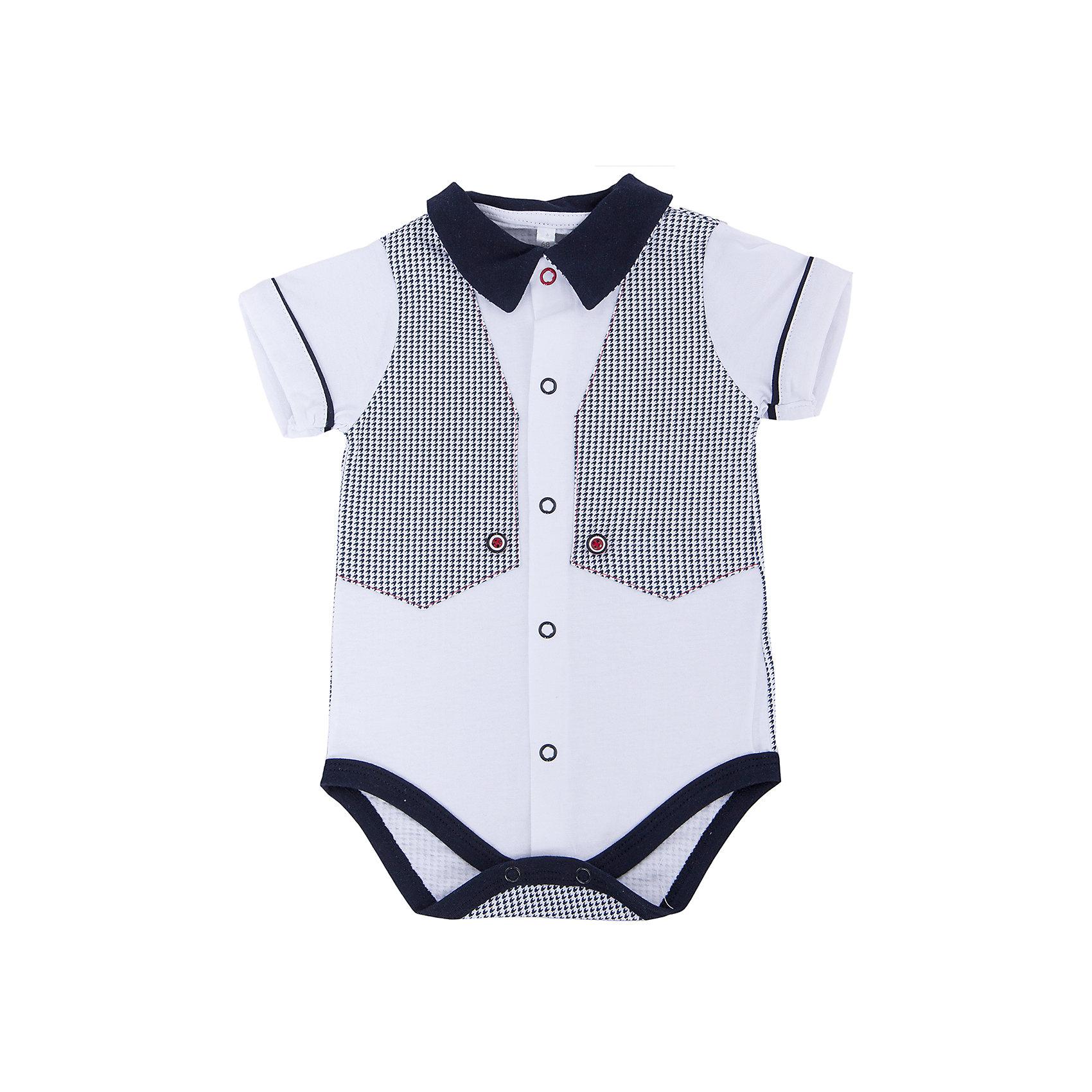 Боди для мальчика Soni KidsБоди для мальчика от популярной марки Soni Kids <br> <br>Стильное боди в черно-белой гамме сшито из мягкого дышащего хлопка. Это гипоаллергенный материал, который отлично подходит для детской одежды. Правильный крой обеспечит ребенку удобство, не будет натирать и стеснять движения. <br> <br>Особенности модели: <br> <br>- цвет - белый; <br>- материал - натуральный хлопок; <br>- черная отделка; <br>- имитация жилета; <br>- мягкая окантовка; <br>- отложной воротник; <br>- рукава короткие, с отделкой; <br>- застежки - кнопки впереди и внизу. <br> <br>Дополнительная информация: <br> <br>Состав: 100% хлопок <br> <br>Боди для мальчика от популярной марки Soni Kids (Сони Кидс) можно купить в нашем магазине.<br><br>Ширина мм: 157<br>Глубина мм: 13<br>Высота мм: 119<br>Вес г: 200<br>Цвет: белый/серый<br>Возраст от месяцев: 2<br>Возраст до месяцев: 5<br>Пол: Мужской<br>Возраст: Детский<br>Размер: 62,86,80,74,68<br>SKU: 4545021