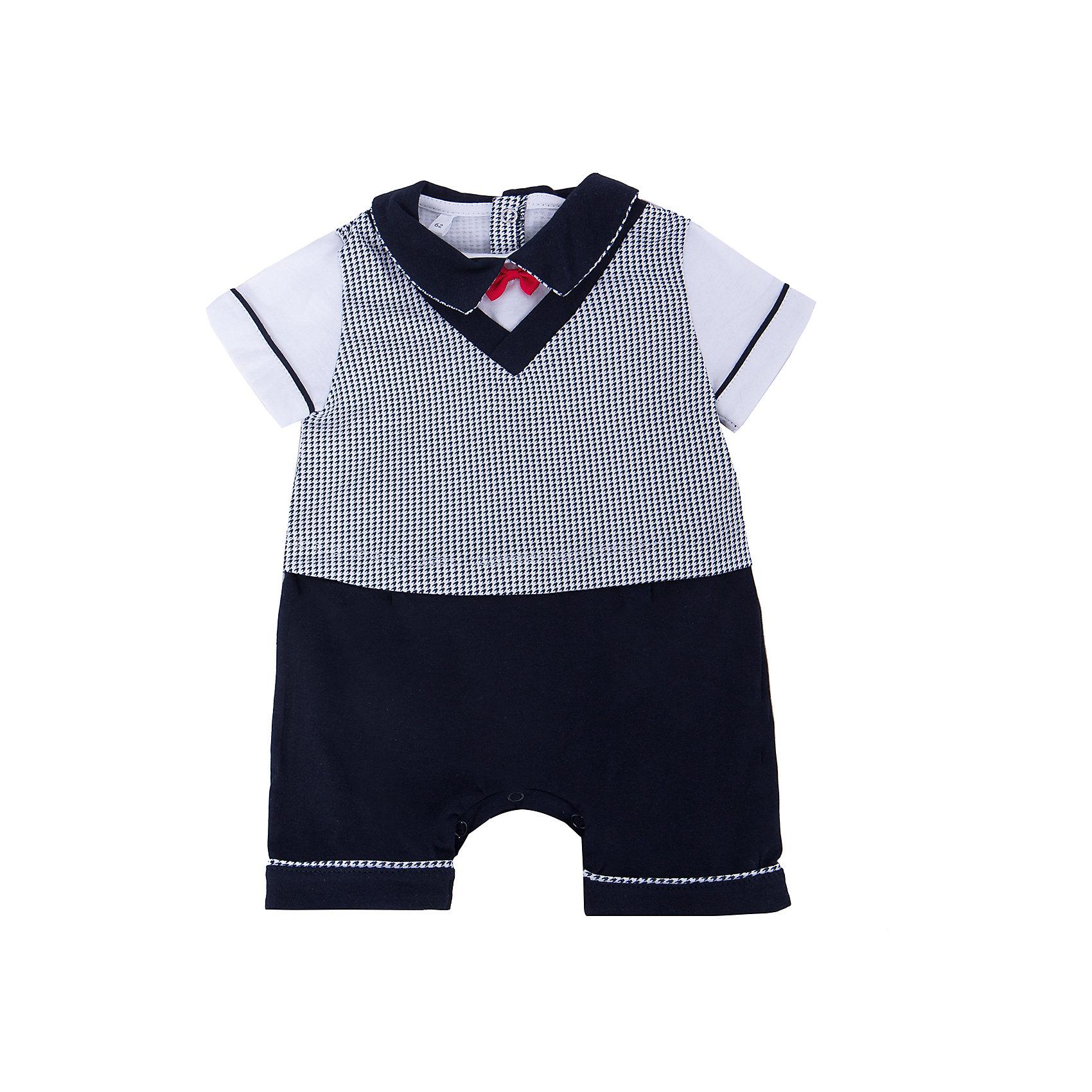 Песочник для мальчика Soni KidsПесочник для мальчика от популярной марки Soni Kids <br> <br>Нарядный и удобный песочник в черно-белой гамме сшит из мягкого дышащего хлопка. Это гипоаллергенный материал, который отлично подходит для детской одежды. Правильный крой обеспечит ребенку удобство, не будет натирать и стеснять движения. <br> <br>Особенности модели: <br> <br>- цвет - белый, черный; <br>- материал - натуральный хлопок; <br>- декорирован красным бантиком; <br>- имитация жилета и шорт; <br>- отложной воротник; <br>- рукава короткие, с отделкой; <br>- застежки - кнопки сзади и внизу. <br> <br>Дополнительная информация: <br> <br>Состав: 100% хлопок <br> <br>Песочник для мальчика от популярной марки Soni Kids (Сони Кидс) можно купить в нашем магазине.<br><br>Ширина мм: 157<br>Глубина мм: 13<br>Высота мм: 119<br>Вес г: 200<br>Цвет: белый/черный<br>Возраст от месяцев: 6<br>Возраст до месяцев: 9<br>Пол: Мужской<br>Возраст: Детский<br>Размер: 74,86,80,68,62<br>SKU: 4545039