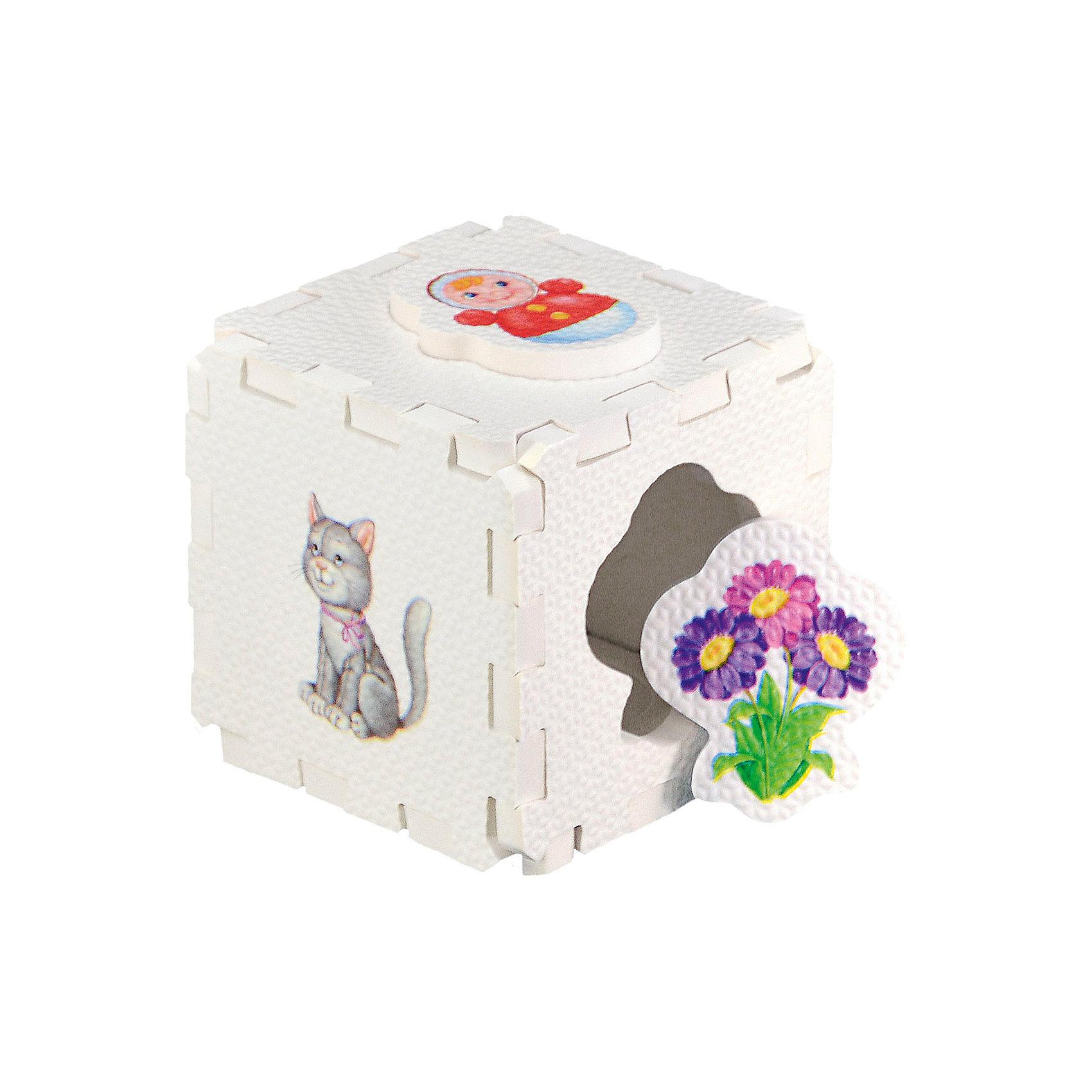 Кубик EVA - сортер Для девочекСортеры<br>Набор состоит из 6 больших деталей-пазлов, которые можно собрать в объёмный кубик. Собирая кубик и играя с его деталями, малыши тренируют мелкую моторику, развивают мышление, память, внимание, а также получают навыки творческого конструирования.<br>Детали-пазлы сделаны из экологически чистого и гипоаллергенного материала ЭВА (EVA), который не имеет цвета, запаха и вкуса, а значит, идеально подходит для первых развивающих игрушек и игр.<br>Особенности пазлов ЭВА открывают дополнительные возможности для различных игровых сюжетов:<br>- детали-пазлы можно грызть, мять, гнуть, сжимать и мочить, и при этом они не испортятся; <br>- с набором можно играть в воде, детали плавают и легко крепятся к кафелю и стенкам ванны; <br>- уникальная технология печати картинок на пазлах передаёт все оттенки цветов, и дети быстрее учатся узнавать нарисованные на них предметы в окружающем мире; <br>- набор идеально подходит для развития детской моторики, сенсорики, навыков конструирования; <br>- детали-пазлы из разных наборов подходят к друг другу, вы легко можете комбинировать разные наборы.<br><br>Дополнительная информация:<br><br>- Материал: ЭВА.<br>- Размер: 25,5х24 см. <br>- Толщина детали-пазла: 3 см. <br>- Комплектация: 6 деталей.<br>- Детали-пазлы подходят к другим наборам. <br>- Используются стойкие гипоаллергенный красители.<br>- Подходит для игр в воде. <br><br>Кубик EVA - сортер Для девочек можно купить в нашем магазине.<br><br>Ширина мм: 255<br>Глубина мм: 240<br>Высота мм: 10<br>Вес г: 72<br>Возраст от месяцев: 6<br>Возраст до месяцев: 36<br>Пол: Женский<br>Возраст: Детский<br>SKU: 4545582