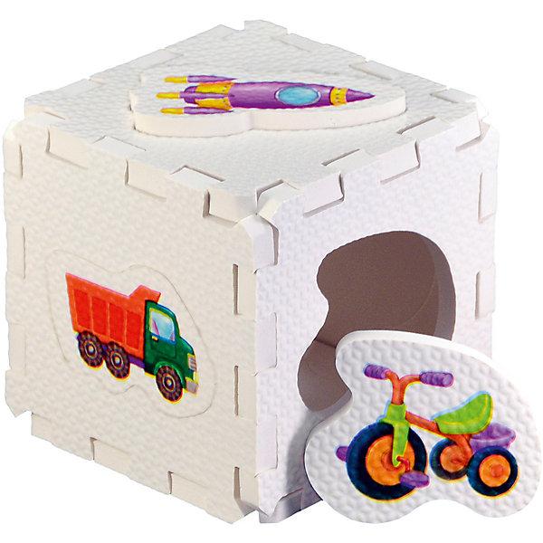 Кубик EVA - сортер Для мальчиковРобинс<br>Набор состоит из 6 больших деталей-пазлов, которые можно собрать в объёмный кубик. Собирая кубик и играя с его деталями, малыши тренируют мелкую моторику, развивают мышление, память, внимание, а также получают навыки творческого конструирования.<br>Детали-пазлы сделаны из экологически чистого и гипоаллергенного материала ЭВА (EVA), который не имеет цвета, запаха и вкуса, а значит, идеально подходит для первых развивающих игрушек и игр.<br>Особенности пазлов ЭВА открывают дополнительные возможности для различных игровых сюжетов:<br>- детали-пазлы можно грызть, мять, гнуть, сжимать и мочить, и при этом они не испортятся; <br>- с набором можно играть в воде, детали плавают и легко крепятся к кафелю и стенкам ванны; <br>- уникальная технология печати картинок на пазлах передаёт все оттенки цветов, и дети быстрее учатся узнавать нарисованные на них предметы в окружающем мире; <br>- набор идеально подходит для развития детской моторики, сенсорики, навыков конструирования; <br>- детали-пазлы из разных наборов подходят к друг другу, вы легко можете комбинировать разные наборы.<br><br>Дополнительная информация:<br><br>- Материал: ЭВА.<br>- Размер: 25,5х24 см. <br>- Толщина детали-пазла: 3 см. <br>- Комплектация: 6 деталей.<br>- Детали-пазлы подходят к другим наборам. <br>- Используются стойкие гипоаллергенный красители.<br>- Подходит для игр в воде. <br><br>Кубик EVA - сортер Для мальчиков можно купить в нашем магазине.<br><br>Ширина мм: 255<br>Глубина мм: 240<br>Высота мм: 10<br>Вес г: 72<br>Возраст от месяцев: 6<br>Возраст до месяцев: 36<br>Пол: Мужской<br>Возраст: Детский<br>SKU: 4545583