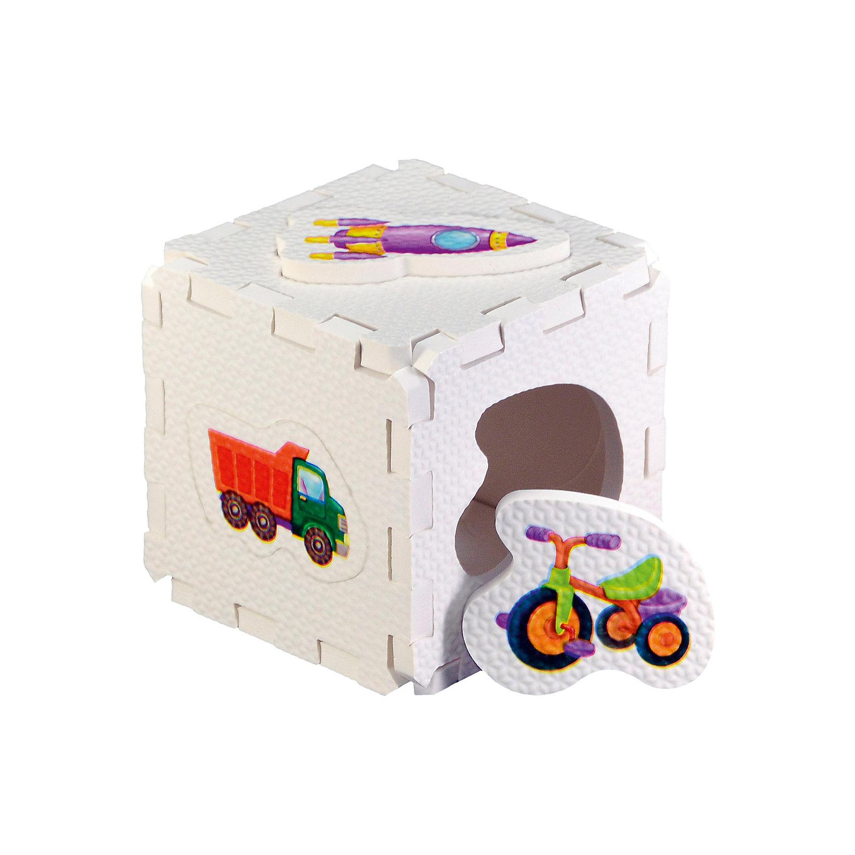 Кубик EVA - сортер Для мальчиковСортеры<br>Набор состоит из 6 больших деталей-пазлов, которые можно собрать в объёмный кубик. Собирая кубик и играя с его деталями, малыши тренируют мелкую моторику, развивают мышление, память, внимание, а также получают навыки творческого конструирования.<br>Детали-пазлы сделаны из экологически чистого и гипоаллергенного материала ЭВА (EVA), который не имеет цвета, запаха и вкуса, а значит, идеально подходит для первых развивающих игрушек и игр.<br>Особенности пазлов ЭВА открывают дополнительные возможности для различных игровых сюжетов:<br>- детали-пазлы можно грызть, мять, гнуть, сжимать и мочить, и при этом они не испортятся; <br>- с набором можно играть в воде, детали плавают и легко крепятся к кафелю и стенкам ванны; <br>- уникальная технология печати картинок на пазлах передаёт все оттенки цветов, и дети быстрее учатся узнавать нарисованные на них предметы в окружающем мире; <br>- набор идеально подходит для развития детской моторики, сенсорики, навыков конструирования; <br>- детали-пазлы из разных наборов подходят к друг другу, вы легко можете комбинировать разные наборы.<br><br>Дополнительная информация:<br><br>- Материал: ЭВА.<br>- Размер: 25,5х24 см. <br>- Толщина детали-пазла: 3 см. <br>- Комплектация: 6 деталей.<br>- Детали-пазлы подходят к другим наборам. <br>- Используются стойкие гипоаллергенный красители.<br>- Подходит для игр в воде. <br><br>Кубик EVA - сортер Для мальчиков можно купить в нашем магазине.<br><br>Ширина мм: 255<br>Глубина мм: 240<br>Высота мм: 10<br>Вес г: 72<br>Возраст от месяцев: 6<br>Возраст до месяцев: 36<br>Пол: Мужской<br>Возраст: Детский<br>SKU: 4545583