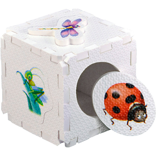 Кубик EVA - сортер НасекомыеРазвивающие игрушки<br>Набор состоит из 6 больших деталей-пазлов, которые можно собрать в объёмный кубик. Собирая кубик и играя с его деталями, малыши тренируют мелкую моторику, развивают мышление, память, внимание, а также получают навыки творческого конструирования.<br>Детали-пазлы сделаны из экологически чистого и гипоаллергенного материала ЭВА (EVA), который не имеет цвета, запаха и вкуса, а значит, идеально подходит для первых развивающих игрушек и игр.<br>Особенности пазлов ЭВА открывают дополнительные возможности для различных игровых сюжетов:<br>- детали-пазлы можно грызть, мять, гнуть, сжимать и мочить, и при этом они не испортятся; <br>- с набором можно играть в воде, детали плавают и легко крепятся к кафелю и стенкам ванны; <br>- уникальная технология печати картинок на пазлах передаёт все оттенки цветов, и дети быстрее учатся узнавать нарисованные на них предметы в окружающем мире; <br>- набор идеально подходит для развития детской моторики, сенсорики, навыков конструирования; <br>- детали-пазлы из разных наборов подходят к друг другу, вы легко можете комбинировать разные наборы.<br><br>Дополнительная информация:<br><br>- Материал: ЭВА.<br>- Размер: 25,5х24 см. <br>- Толщина детали-пазла: 3 см. <br>- Комплектация: 6 деталей.<br>- Детали-пазлы подходят к другим наборам. <br>- Используются стойкие гипоаллергенный красители.<br>- Подходит для игр в воде. <br><br>Кубик EVA - сортер Насекомые можно купить в нашем магазине.<br><br>Ширина мм: 255<br>Глубина мм: 240<br>Высота мм: 10<br>Вес г: 72<br>Возраст от месяцев: 6<br>Возраст до месяцев: 36<br>Пол: Унисекс<br>Возраст: Детский<br>SKU: 4545584
