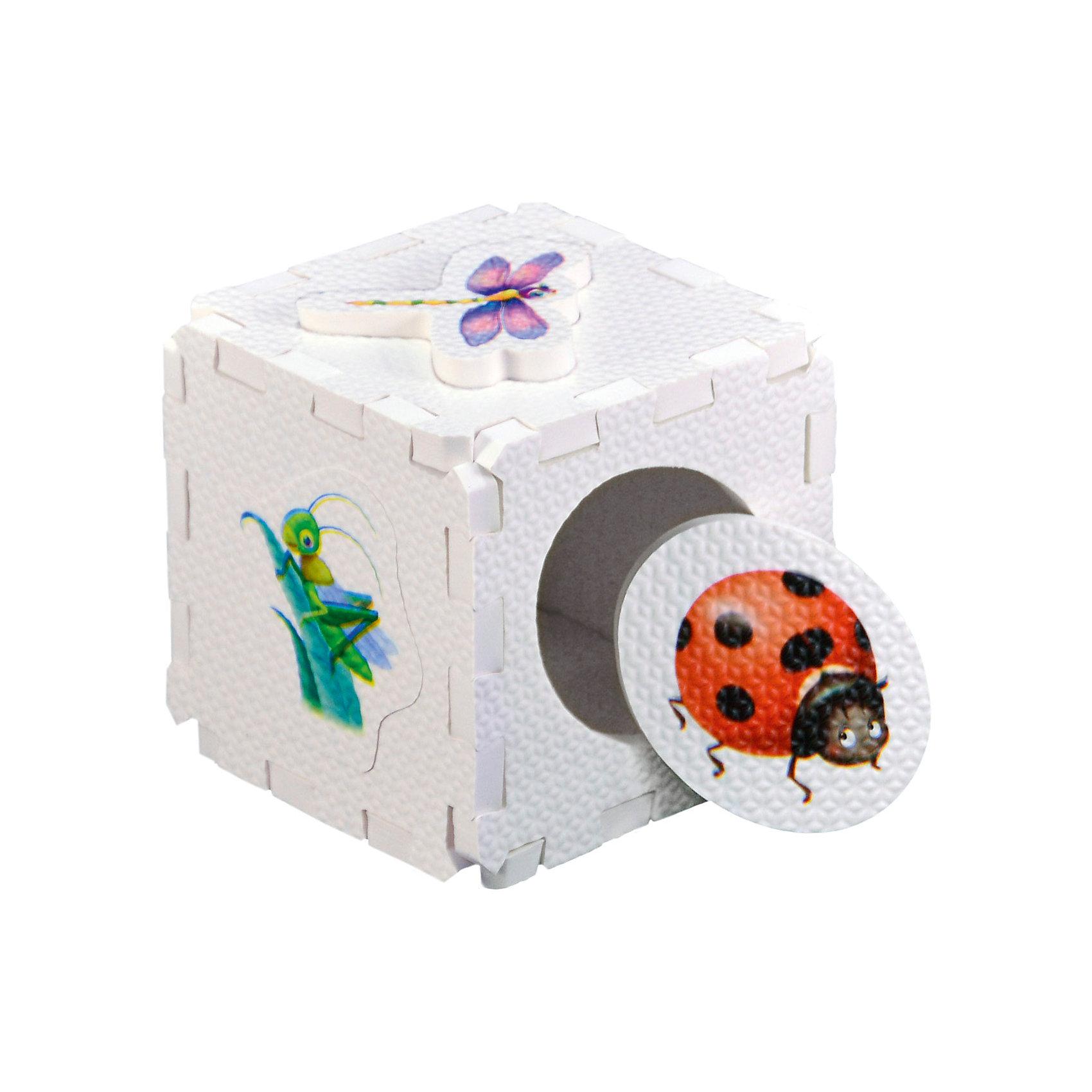 Кубик EVA - сортер НасекомыеСортеры<br>Набор состоит из 6 больших деталей-пазлов, которые можно собрать в объёмный кубик. Собирая кубик и играя с его деталями, малыши тренируют мелкую моторику, развивают мышление, память, внимание, а также получают навыки творческого конструирования.<br>Детали-пазлы сделаны из экологически чистого и гипоаллергенного материала ЭВА (EVA), который не имеет цвета, запаха и вкуса, а значит, идеально подходит для первых развивающих игрушек и игр.<br>Особенности пазлов ЭВА открывают дополнительные возможности для различных игровых сюжетов:<br>- детали-пазлы можно грызть, мять, гнуть, сжимать и мочить, и при этом они не испортятся; <br>- с набором можно играть в воде, детали плавают и легко крепятся к кафелю и стенкам ванны; <br>- уникальная технология печати картинок на пазлах передаёт все оттенки цветов, и дети быстрее учатся узнавать нарисованные на них предметы в окружающем мире; <br>- набор идеально подходит для развития детской моторики, сенсорики, навыков конструирования; <br>- детали-пазлы из разных наборов подходят к друг другу, вы легко можете комбинировать разные наборы.<br><br>Дополнительная информация:<br><br>- Материал: ЭВА.<br>- Размер: 25,5х24 см. <br>- Толщина детали-пазла: 3 см. <br>- Комплектация: 6 деталей.<br>- Детали-пазлы подходят к другим наборам. <br>- Используются стойкие гипоаллергенный красители.<br>- Подходит для игр в воде. <br><br>Кубик EVA - сортер Насекомые можно купить в нашем магазине.<br><br>Ширина мм: 255<br>Глубина мм: 240<br>Высота мм: 10<br>Вес г: 72<br>Возраст от месяцев: 6<br>Возраст до месяцев: 36<br>Пол: Унисекс<br>Возраст: Детский<br>SKU: 4545584