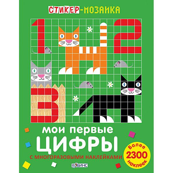 Стикер-мозаика Мои первые цифрыПособия для обучения счёту<br>Собираем мозаику, наклеиваем цифры и учимся считать!<br>«Стикер-мозаика. Мои первые цифры с наклейками» –  это уникальное игровое пособие для знакомства с цифрами и тренировки навыков счёта, изучения цветов и форм, а забавные картинки откроют ребёнку с миром животных.<br>Собирайте мозаику цифр и животных с помощью картинок-примеров, а на дополнительных разворотах вы можете проявить свою фантазию и придумать своё животное. Не бойтесь экспериментировать: ламинированные страницы и многоразовые наклейки позволяют вам создавать картинки снова и снова.<br>Составление мозаики из мелких деталей тренирует координацию движений пальчиков руки, а это напрямую влияет на активное развитие речи, развиваются самостоятельность в принятии решений, пространственная ориентация, абстрактное мышление и художественный вкус.<br><br>Дополнительная информация:<br><br>- Формат: 21,5х28 см.<br>- Количество страниц: 36.<br>- Переплет: мягкий.<br>- Иллюстрации: цветные.<br>- 12 листов с яркими рисунками.<br>- Более 2300 наклеек.<br>- Комплектация: красочные картинки-образцы мозаик; ламинированное поле для составления мозаики; многоразовые наклейки по формам и цветам, а также наклейки с глазками, мордочками и лапками;<br>дополнительные развороты для творчества с новыми животными и наклейками для них.<br><br>Стикер-мозаику Мои первые цифры можно купить в нашем магазине.<br>Ширина мм: 278; Глубина мм: 215; Высота мм: 4; Вес г: 240; Возраст от месяцев: 36; Возраст до месяцев: 60; Пол: Унисекс; Возраст: Детский; SKU: 4545593;