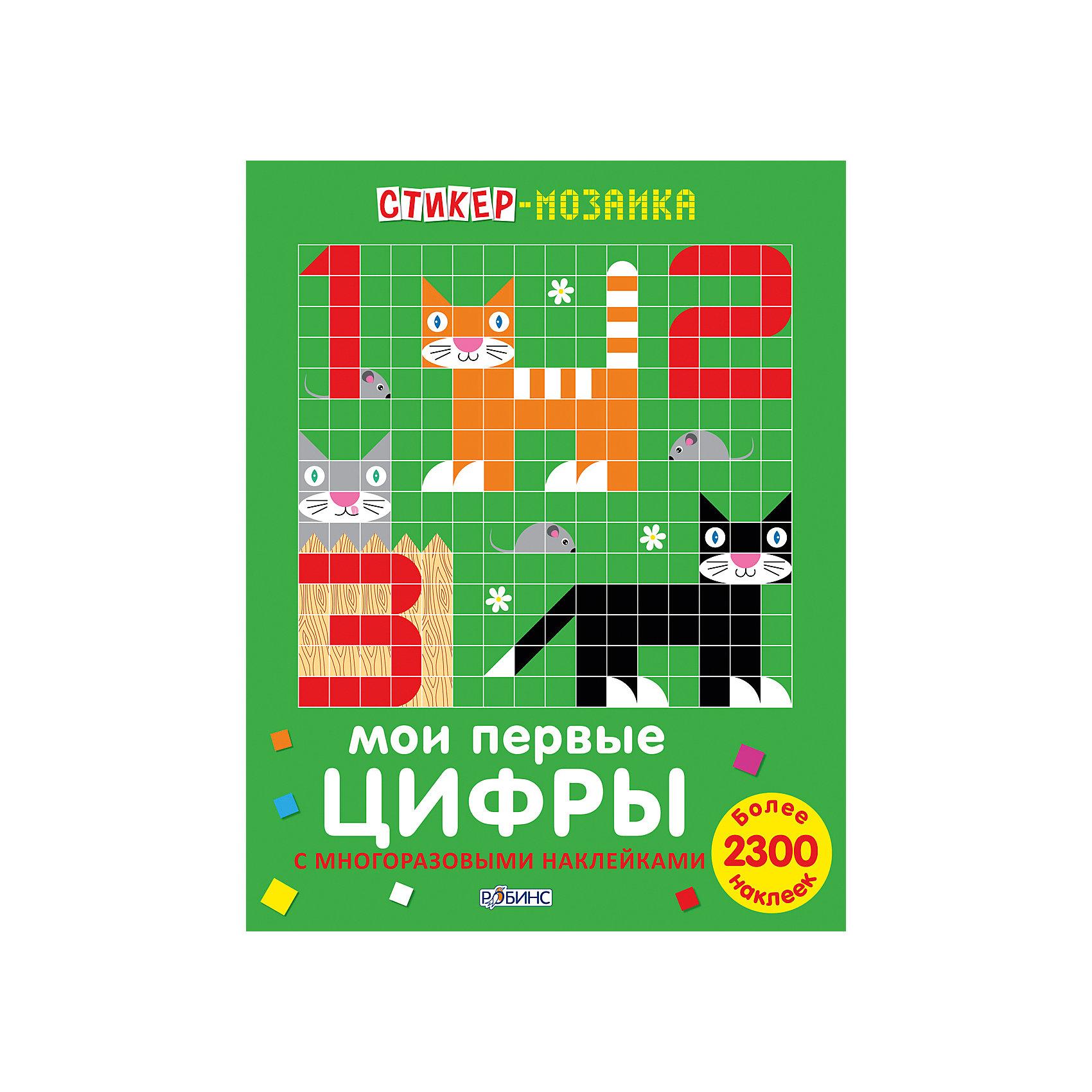 Стикер-мозаика Мои первые цифрыПособия для обучения счёту<br>Собираем мозаику, наклеиваем цифры и учимся считать!<br>«Стикер-мозаика. Мои первые цифры с наклейками» –  это уникальное игровое пособие для знакомства с цифрами и тренировки навыков счёта, изучения цветов и форм, а забавные картинки откроют ребёнку с миром животных.<br>Собирайте мозаику цифр и животных с помощью картинок-примеров, а на дополнительных разворотах вы можете проявить свою фантазию и придумать своё животное. Не бойтесь экспериментировать: ламинированные страницы и многоразовые наклейки позволяют вам создавать картинки снова и снова.<br>Составление мозаики из мелких деталей тренирует координацию движений пальчиков руки, а это напрямую влияет на активное развитие речи, развиваются самостоятельность в принятии решений, пространственная ориентация, абстрактное мышление и художественный вкус.<br><br>Дополнительная информация:<br><br>- Формат: 21,5х28 см.<br>- Количество страниц: 36.<br>- Переплет: мягкий.<br>- Иллюстрации: цветные.<br>- 12 листов с яркими рисунками.<br>- Более 2300 наклеек.<br>- Комплектация: красочные картинки-образцы мозаик; ламинированное поле для составления мозаики; многоразовые наклейки по формам и цветам, а также наклейки с глазками, мордочками и лапками;<br>дополнительные развороты для творчества с новыми животными и наклейками для них.<br><br>Стикер-мозаику Мои первые цифры можно купить в нашем магазине.<br><br>Ширина мм: 278<br>Глубина мм: 215<br>Высота мм: 4<br>Вес г: 240<br>Возраст от месяцев: 36<br>Возраст до месяцев: 60<br>Пол: Унисекс<br>Возраст: Детский<br>SKU: 4545593