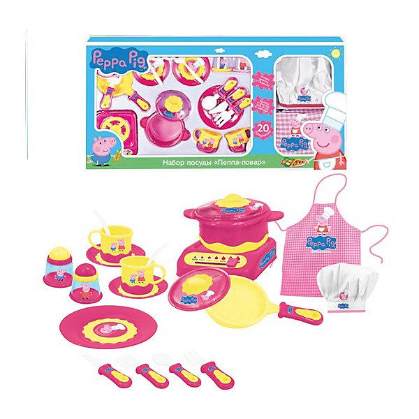 Посудка Пеппа-Повар 20 пр., Свинка ПеппаПопулярные игрушки<br>С набором посуды «Пеппа-повар» ТМ «Peppa Pig» юная любительница кулинарии почувствует себя настоящим шеф-поваром. К ее услугам 20 предметов: 2 чашки, 2 блюдца, тарелка, мини-сковорода с крышкой, кастрюля с крышкой, плита, солонка, перечница, 2 чайные ложки, лопатка, вилка, столовый нож, столовая ложка и даже настоящие фартук и колпак! Словом, в наборе есть всё необходимое для приготовления и подачи блюд друзьям по игре.<br><br>Дополнительная информация:<br><br>Посуда изготовлена из безопасного пластика, а фартук и колпак – из качественного текстиля. <br>Все предметы декорированы ярким принтом: изображением Пеппы-повара и ее братика Джорджа. <br>Упаковка – открытая коробка размером 70,5 х 36 х 6 см.<br><br>Посудку Пеппа-Повар 20 пр., Свинка Пеппа (Peppa Pig) можно купить в нашем магазине.<br><br>Ширина мм: 710<br>Глубина мм: 360<br>Высота мм: 60<br>Вес г: 890<br>Возраст от месяцев: 36<br>Возраст до месяцев: 72<br>Пол: Женский<br>Возраст: Детский<br>SKU: 4545610