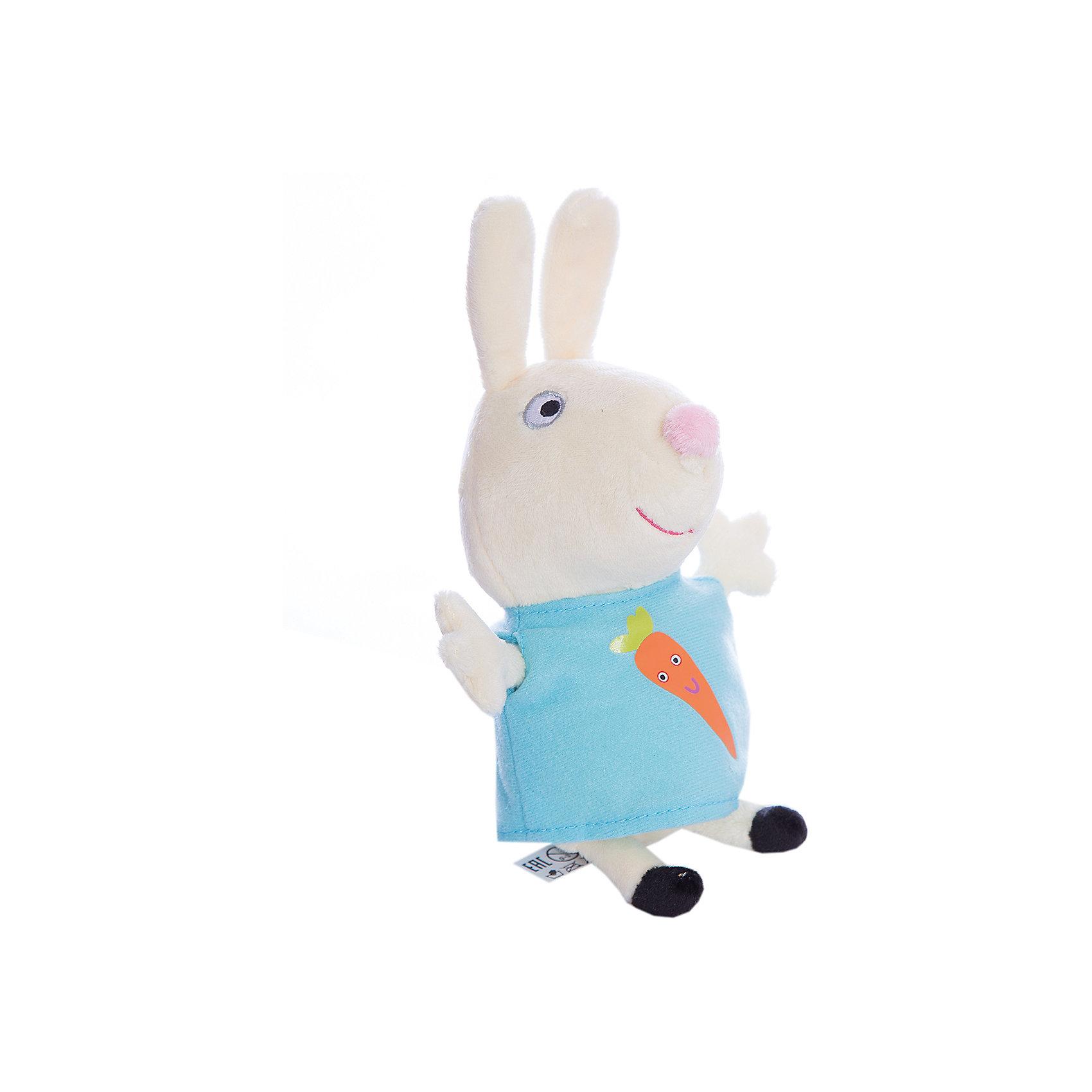 Мягкая игрушка Ребекка с морковью, 20см, Свинка ПеппаЛюбимые герои<br>Ваш малыш любит мультфильм «Свинка Пеппа»? Тогда он обязательно оценит игрушку в виде Кролика Ребекки, с которой можно весело играть, развивая навыки общения и воображение. А если приобрести других персонажей из серии «Peppa Pig», то все игры станут во много раз увлекательнее. <br>С любимой игрушкой малютка будет делиться своими маленькими секретиками и безмятежно спать ночью – ведь в обнимку с плюшевым другом сон гораздо слаще!<br><br>Дополнительная информация:<br><br>Мягкая игрушка «Кролик Ребекка» имеет высоту 20 см (размер указан с ножками) и очень приятна на ощупь, так как изготовлена из нежной велюровой ткани и плотно набита. Глазки, носик и ротик Ребекки выполнены в виде плотной вышивки, а на ее платьице красуется яркая аппликация в виде морковки.<br><br>Мягкую игрушку Ребекка с морков, 20см, Свинка Пеппа (Peppa Pig) можно купить в нашем магазине.<br><br>Ширина мм: 110<br>Глубина мм: 80<br>Высота мм: 200<br>Вес г: 56<br>Возраст от месяцев: 36<br>Возраст до месяцев: 72<br>Пол: Унисекс<br>Возраст: Детский<br>SKU: 4545611