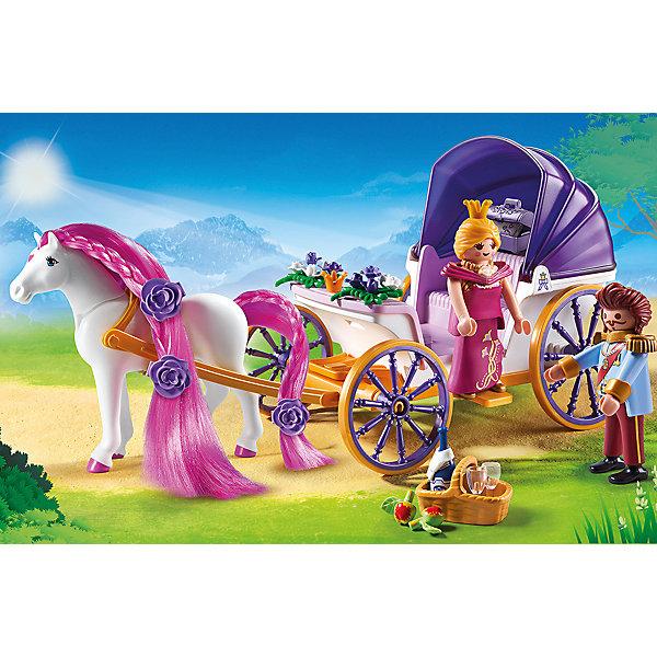 Конструктор Playmobil Замок Принцессы Королевская чета с каретойПластмассовые конструкторы<br>Характеристики товара:<br><br>• возраст: от 4 лет;<br>• материал: пластик;<br>• в комплекте: 2 фигурки, лошадь, карета, аксессуары;<br>• высота фигурки: 7,5 см;<br>• размер упаковки: 18,7х28,4х9,3 см;<br>• вес упаковки: 440 гр.;<br>• страна бренда: Германия.<br><br>Игровой набор «Замок Принцессы: Королевская чета с каретой» Playmobil включает в себя фигурки принцессы, принца, лошадку и карету, на которой они отправляются на прогулку. У кареты откидывается крыша и может служить защитой от солнца. У лошадки мягкие грива и хвост, их можно расчесывать и делать прически. У фигурок есть подвижные детали.<br><br>Игровой набор «Замок Принцессы: Королевская чета с каретой» Playmobil можно приобрести в нашем интернет-магазине.<br>Ширина мм: 287; Глубина мм: 187; Высота мм: 96; Вес г: 427; Возраст от месяцев: 48; Возраст до месяцев: 120; Пол: Женский; Возраст: Детский; SKU: 4546169;