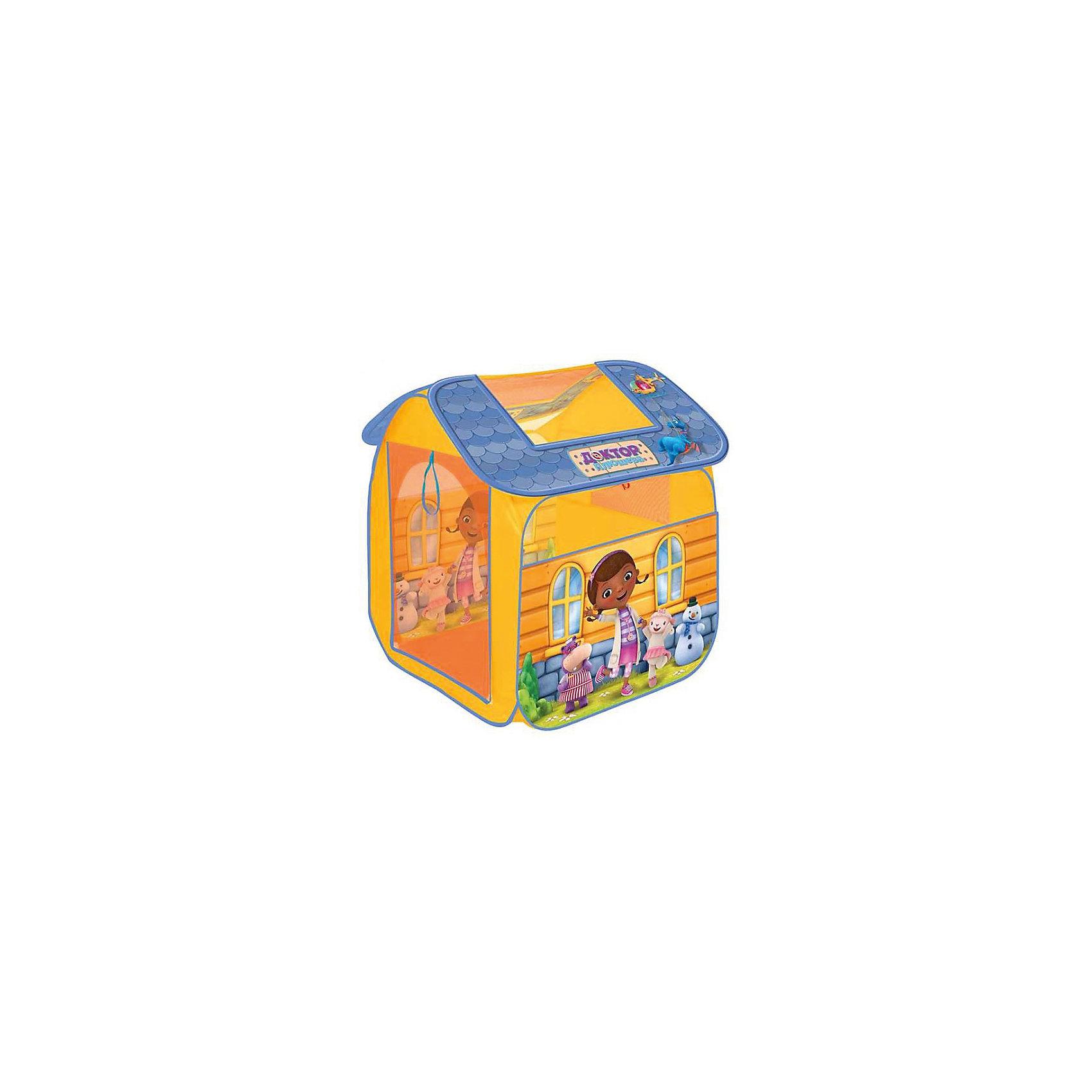 Палатка Доктор Плюшева, в сумке, Играем вместеИгровые центры<br>Палатка Доктор Плюшева, Играем вместе - настоящий сказочный домик для маленькой принцессы. Палатка приятной оранжевой расцветки украшена изображениями девочки Дотти и ее друзей - забавных игрушек из популярного мультсериала Доктор Плюшева (Doc McStuffins).<br>Палатка оснащена дверью на липучке, окошками из сетчатого материала и  большим окном для вентиляции на крыше палатки. Благодаря самораскладывающемуся каркасу-спирали палатка легко собирается и складывается. Этот замечательный игровой домик поможет Вашей девочке создать свой уютный уголок для игр как в помещении, так и на улице. Палатка компактно складывается в небольшую сумочку, поэтому ее удобно брать с собой на прогулку или в поездку. Выполнена из прочного, водонепроницаемого, моющегося материала. Яркая палатка будет чудесным местом для самостоятельной игры ребёнка и отлично подойдёт для сюжетно-ролевых игр. <br><br>Дополнительная информация:<br><br>- Материал: текстиль. <br>- Размер палатки: 83 х 80 х 105 см.<br>- Размер упаковки: 40 x 40 x 3 см.<br>- Вес с упаковкой: 0,71 кг. <br><br>Палатку Доктор Плюшева, в сумке, Играем вместе, можно купить в нашем интернет-магазине.<br><br>Ширина мм: 400<br>Глубина мм: 400<br>Высота мм: 30<br>Вес г: 710<br>Возраст от месяцев: 36<br>Возраст до месяцев: 120<br>Пол: Женский<br>Возраст: Детский<br>SKU: 4546556