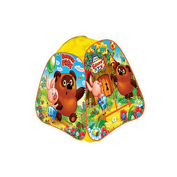 Палатка Винни Пух, в сумке, Играем вместеСоветские мультфильмы<br>Детская игровая палатка Винни Пух, Играем вместе, станет чудесным подарком для Вашего ребенка. Красочная разноцветная палатка выполнена по мотивам популярного отечественного мультфильма о медвежонке Винни-Пухе и украшена изображениями его персонажей. Палатка оснащена дверью на липучке и полупрозрачным окном из сетчатого материала, которое позволяет наблюдать за ребенком когда он находится внутри. Благодаря самораскладывающемуся каркасу-спирали палатка легко собирается и складывается. Этот замечательный игровой домик поможет Вашему ребенку создать свой уютный уголок для игр как в помещении, так и на улице. Палатка компактно складывается в небольшую сумочку, поэтому ее удобно брать с собой на прогулку или в поездку. Выполнена из прочного, водонепроницаемого, моющегося материала. Яркая палатка будет чудесным местом для самостоятельной игры ребёнка и отлично подойдёт для сюжетно-ролевых игр. <br><br>Дополнительная информация:<br><br>- Материал: текстиль, пластик.<br>- Размер палатки: 81 х 91 х 81 см.<br>- Размер упаковки: 37 х 37 х 3 см.<br>- Вес с упаковкой: 0,67 кг. <br><br>Детскую игровую палатку Винни Пух, в сумке, Играем вместе, можно купить в нашем интернет-магазине.<br>Ширина мм: 370; Глубина мм: 370; Высота мм: 30; Вес г: 670; Возраст от месяцев: 36; Возраст до месяцев: 120; Пол: Унисекс; Возраст: Детский; SKU: 4546557;
