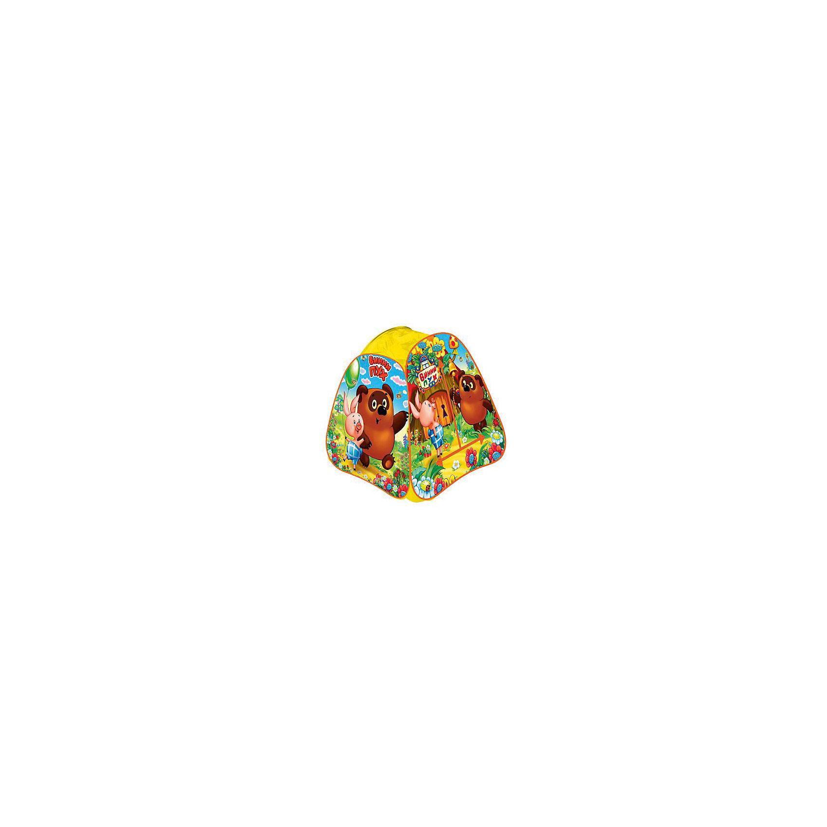 Палатка Винни Пух, в сумке, Играем вместеВинни Пух Дисней<br>Детская игровая палатка Винни Пух, Играем вместе, станет чудесным подарком для Вашего ребенка. Красочная разноцветная палатка выполнена по мотивам популярного отечественного мультфильма о медвежонке Винни-Пухе и украшена изображениями его персонажей. Палатка оснащена дверью на липучке и полупрозрачным окном из сетчатого материала, которое позволяет наблюдать за ребенком когда он находится внутри. Благодаря самораскладывающемуся каркасу-спирали палатка легко собирается и складывается. Этот замечательный игровой домик поможет Вашему ребенку создать свой уютный уголок для игр как в помещении, так и на улице. Палатка компактно складывается в небольшую сумочку, поэтому ее удобно брать с собой на прогулку или в поездку. Выполнена из прочного, водонепроницаемого, моющегося материала. Яркая палатка будет чудесным местом для самостоятельной игры ребёнка и отлично подойдёт для сюжетно-ролевых игр. <br><br>Дополнительная информация:<br><br>- Материал: текстиль, пластик.<br>- Размер палатки: 81 х 91 х 81 см.<br>- Размер упаковки: 37 х 37 х 3 см.<br>- Вес с упаковкой: 0,67 кг. <br><br>Детскую игровую палатку Винни Пух, в сумке, Играем вместе, можно купить в нашем интернет-магазине.<br><br>Ширина мм: 370<br>Глубина мм: 370<br>Высота мм: 30<br>Вес г: 670<br>Возраст от месяцев: 36<br>Возраст до месяцев: 120<br>Пол: Унисекс<br>Возраст: Детский<br>SKU: 4546557