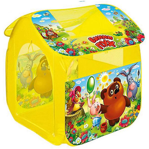 Палатка Винни Пух (большая), в сумке, Играем вместеИгровые центры<br>Палатка Винни Пух, Играем вместе, станет чудесным подарком для Вашего ребенка. Красочная разноцветная палатка выполнена по мотивам популярного отечественного мультфильма о медвежонке Винни-Пухе и украшена изображениями его персонажей. Палатка оснащена дверью на липучке, окошками из сетчатого материала и большим окном для вентиляции на крыше палатки. Благодаря самораскладывающемуся каркасу-спирали палатка легко собирается и складывается. Этот замечательный игровой домик поможет Вашему ребенку создать свой уютный уголок для игр как в помещении, так и на улице. Палатка компактно складывается в небольшую сумочку, поэтому ее удобно брать с собой на прогулку или в поездку. Выполнена из прочного, водонепроницаемого, моющегося материала. Яркая палатка будет чудесным местом для самостоятельной игры ребёнка и отлично подойдёт для сюжетно-ролевых игр. <br><br>Дополнительная информация:<br><br>- Материал: текстиль. <br>- Размер палатки: 83 х 80 х 105 см.<br>- Размер упаковки: 40 x 40 x 3 см.<br>- Вес с упаковкой: 0,71 кг. <br><br>Палатку Винни Пух (большая), в сумке, Играем вместе, можно купить в нашем интернет-магазине.<br><br>Ширина мм: 400<br>Глубина мм: 400<br>Высота мм: 30<br>Вес г: 710<br>Возраст от месяцев: 36<br>Возраст до месяцев: 120<br>Пол: Унисекс<br>Возраст: Детский<br>SKU: 4546558