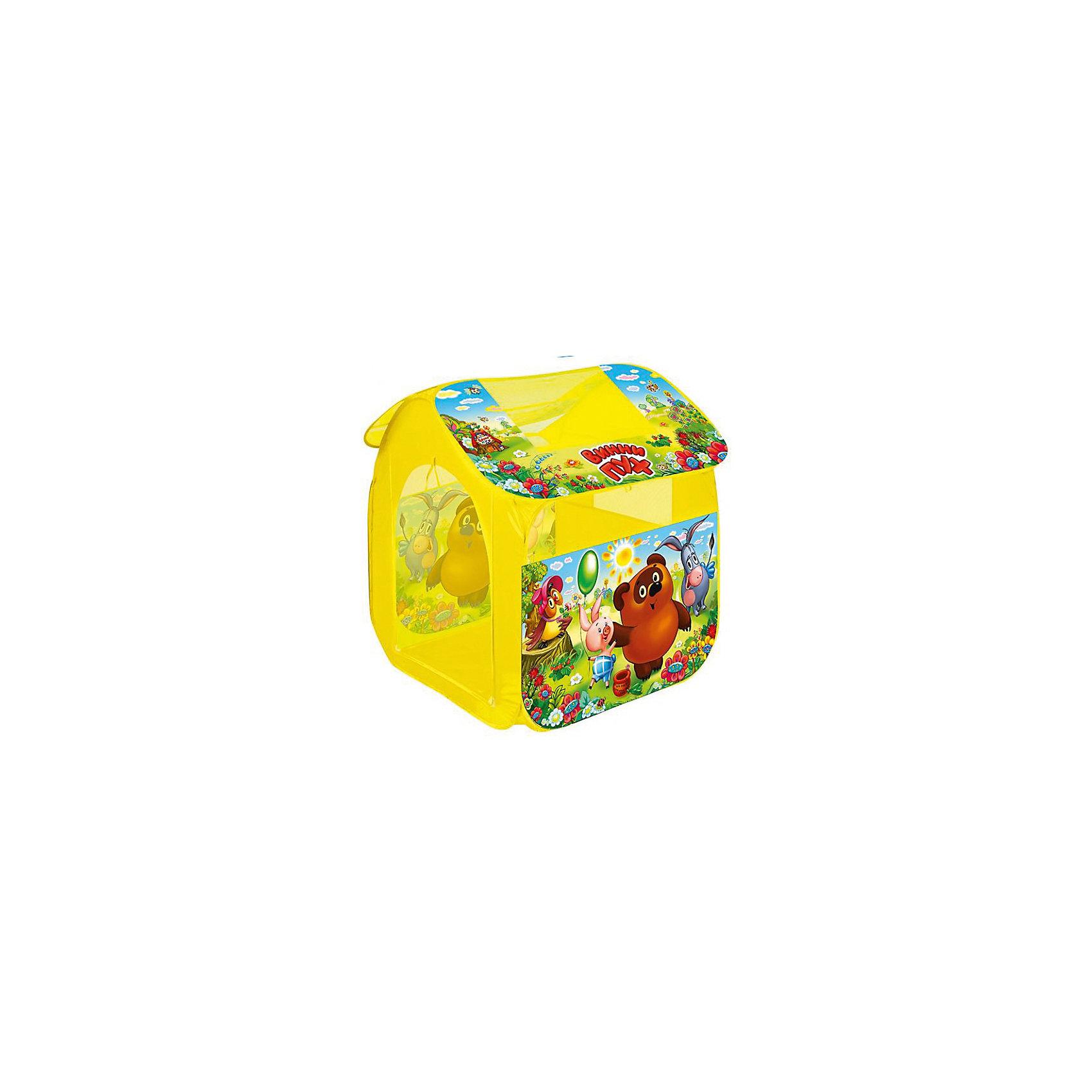 Палатка Винни Пух (большая), в сумке, Играем вместеПалатка Винни Пух, Играем вместе, станет чудесным подарком для Вашего ребенка. Красочная разноцветная палатка выполнена по мотивам популярного отечественного мультфильма о медвежонке Винни-Пухе и украшена изображениями его персонажей. Палатка оснащена дверью на липучке, окошками из сетчатого материала и большим окном для вентиляции на крыше палатки. Благодаря самораскладывающемуся каркасу-спирали палатка легко собирается и складывается. Этот замечательный игровой домик поможет Вашему ребенку создать свой уютный уголок для игр как в помещении, так и на улице. Палатка компактно складывается в небольшую сумочку, поэтому ее удобно брать с собой на прогулку или в поездку. Выполнена из прочного, водонепроницаемого, моющегося материала. Яркая палатка будет чудесным местом для самостоятельной игры ребёнка и отлично подойдёт для сюжетно-ролевых игр. <br><br>Дополнительная информация:<br><br>- Материал: текстиль. <br>- Размер палатки: 83 х 80 х 105 см.<br>- Размер упаковки: 40 x 40 x 3 см.<br>- Вес с упаковкой: 0,71 кг. <br><br>Палатку Винни Пух (большая), в сумке, Играем вместе, можно купить в нашем интернет-магазине.<br><br>Ширина мм: 400<br>Глубина мм: 400<br>Высота мм: 30<br>Вес г: 710<br>Возраст от месяцев: 36<br>Возраст до месяцев: 120<br>Пол: Унисекс<br>Возраст: Детский<br>SKU: 4546558