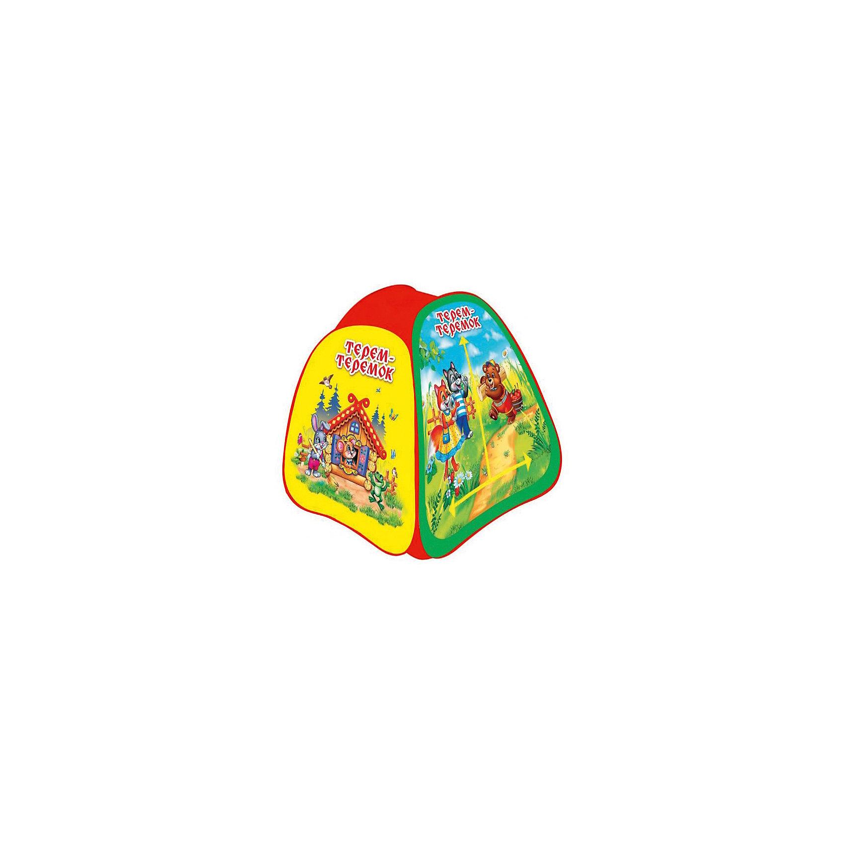 Палатка Теремок, в сумке, Играем вместеИгровые центры<br>Детская игровая палатка Теремок, Играем вместе, станет чудесным подарком для Вашего ребенка. Красочная разноцветная палатка выполнена по мотивам русской народной сказки Теремок и украшена изображениями симпатичных зверюшек. Палатка оснащена дверью на липучке и окнами из сетчатого материала. Благодаря самораскладывающемуся каркасу-спирали палатка легко собирается и складывается. Этот замечательный игровой домик поможет Вашему ребенку создать свой уютный уголок для игр как в помещении, так и на улице. Палатка компактно складывается в небольшую сумочку, поэтому ее удобно брать с собой на прогулку или в поездку. Выполнена из прочного, водонепроницаемого, моющегося материала. Яркая палатка будет чудесным местом для самостоятельной игры ребёнка и отлично подойдёт для сюжетно-ролевых игр. <br><br>Дополнительная информация:<br><br>- Материал: текстиль, пластик.<br>- Размер палатки: 81 х 91 х 81 см.<br>- Размер упаковки: 37 х 37 х 3 см.<br>- Вес с упаковкой: 0,67 кг. <br><br>Детскую игровую палатку Теремок, в сумке, Играем вместе, можно купить в нашем интернет-магазине.<br><br>Ширина мм: 370<br>Глубина мм: 370<br>Высота мм: 30<br>Вес г: 670<br>Возраст от месяцев: 36<br>Возраст до месяцев: 120<br>Пол: Унисекс<br>Возраст: Детский<br>SKU: 4546560