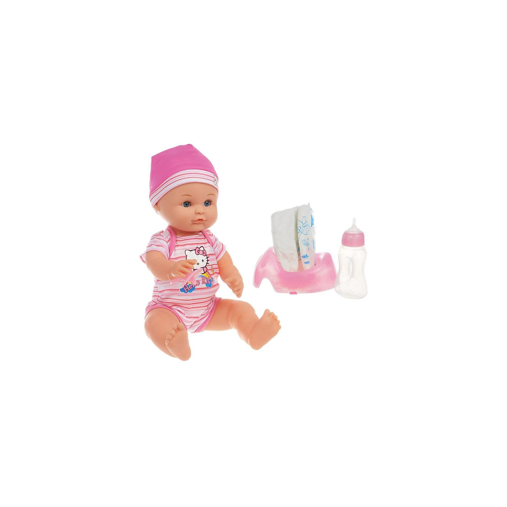 Пупс Hello Kitty, 3 функции, с аксессуарами, КарапузКуклы-пупсы<br>Пупс Hello Kitty, 3 функции, Карапуз, станет замечательным подарком для Вашей девочки. Интерактивная куколка обладает различными игровыми возможностями, выглядит и ведет себя как настоящий живой малыш. Игра в дочки-матери с этим забавным пупсом станет еще интереснее и реалистичнее, игрушка учит девочку заботиться и ухаживать о тех, кто младше. Милый малыш пьет из бутылочки и писает в горшочек (входит в комплект). Кукла-мальчик одета в симпатичный голубой комбинезон, украшенный изображением кошечки Китти и голубую шапочку. В комплект также входят бутылочка, горшок, и соска-пустышка.<br><br>Дополнительная информация:<br><br>- В комплекте: кукла-пупс, бутылочка, игрушечный горшок, соска.<br>- Материал: пластик.<br>- Высота куклы: 40 см.<br>- Размер упаковки: 25 x 39 x 16 см.<br>- Вес: 1,23 кг.<br><br>Пупса Hello Kitty, 3 функции, с аксессуарами, Карапуз, можно купить в нашем интернет-магазине.<br><br>Ширина мм: 250<br>Глубина мм: 390<br>Высота мм: 160<br>Вес г: 1230<br>Возраст от месяцев: 36<br>Возраст до месяцев: 84<br>Пол: Женский<br>Возраст: Детский<br>SKU: 4546565