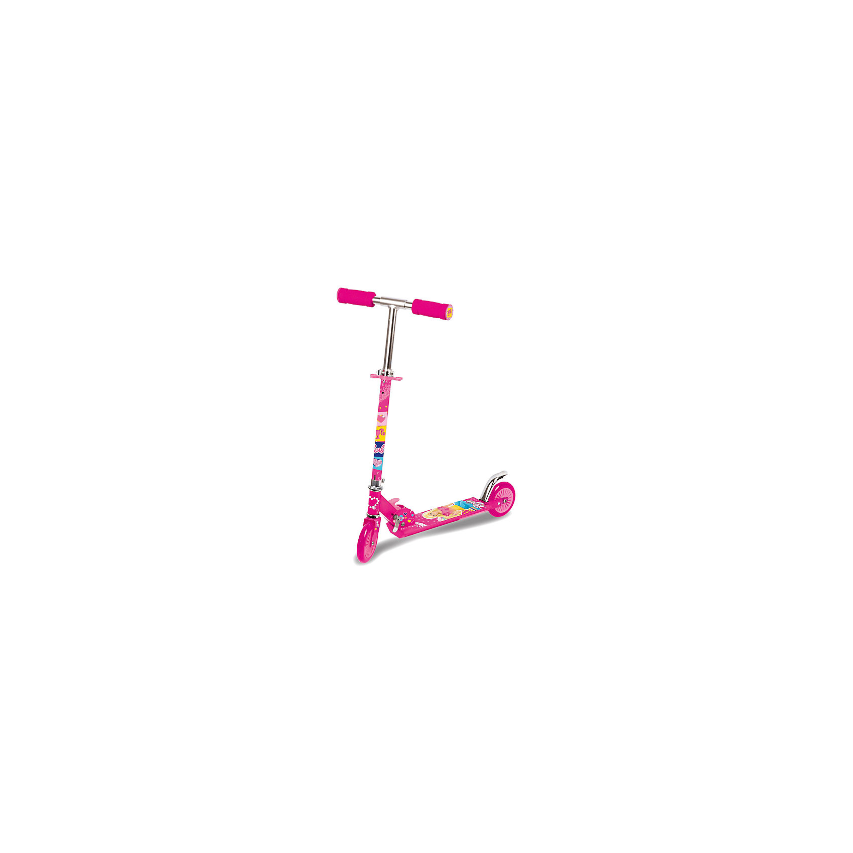 Складной самокат Barbie, NextСамокаты<br>Складной двухколесный самокат, Barbie, Next, станет замечательным подарком для Вашей девочки, он позволит ей весело проводить время на свежем воздухе, тренировать чувство равновесия, координацию движений и моторику. Данная модель изготовлена и высококачественных материалов, отличается маневренностью и привлекательным внешним видом. Самокат имеет приятный ярко-розовый цвет и украшен изображением популярной красавицы куклы Барби.<br><br>Модель оснащена двумя полиуретановыми колесами с подшипниками, которые обеспечивают мягкую комфортную езду. Руль регулируется по высоте в трех положениях, что позволяет ребенку использовать самокат в течении длительного времени. Удобные эргономичные ручки имеют нескользящее покрытие. Модель оборудована ножным тормозом на заднем колесе для безопасной остановки. Самокат легко складывается для транспортировки и хранения. Подходит для детей от 3 лет.<br><br>Дополнительная информация:<br><br>- Материал: рама - 80% алюминий 20% сталь, пластик, колеса ПУ (полиуретан).<br>- Подшипники: Abec-5.<br>- Диаметр колес: 125 мм.<br>- Размер платформы: 47 х 10 см.<br>- Высота самоката: 85 см.<br>- Размер упаковки: 42 x 71 x 88 см.<br>- Вес: 2,48 кг.<br><br><br>Складной самокат, Barbie, Next, можно купить в нашем интернет-магазине.<br><br>Ширина мм: 330<br>Глубина мм: 830<br>Высота мм: 690<br>Вес г: 2480<br>Возраст от месяцев: 36<br>Возраст до месяцев: 192<br>Пол: Женский<br>Возраст: Детский<br>SKU: 4546566
