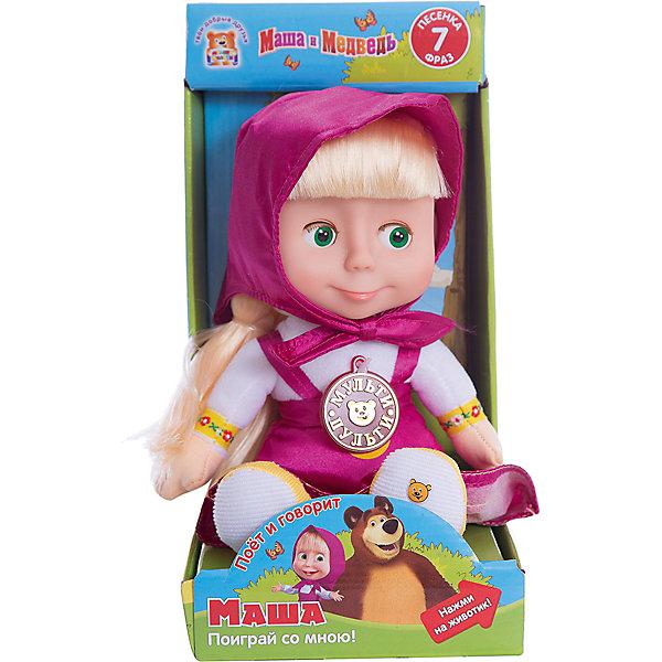 Мягкая игрушка Маша, Маша и Медведь, МУЛЬТИ-ПУЛЬТИМягкие игрушки из мультфильмов<br>Мягкая игрушка Маша, Маша и Медведь, придется по душе всем юным поклонникам популярного мультсериала Маша и Медведь. Маша - озорная девочка, которая дружит с мишкой и часто попадает в забавные ситуации. Внешний вид куколки полностью соответствует своему мультперсонажу. Маша одета в длинный розовый сарафан и розовый платочек. Если нажать кукле на животик она оживет: произносит 7 фраз и поет песенку голосом своего персонажа из мультфильма. Лицо игрушки выполнено из пластика, туловище мягконабивное, глаза закрываются. Очаровательная кукла станет замечательным другом Вашему ребенку, поможет в развитии фантазии, воображения и тактильного восприятия.<br><br>Дополнительная информация:<br><br>- Материал: пластик, текстиль.<br>- Требуются батарейки: 3 х AA (входят в комплект).<br>- Размер куклы: 29 см.<br>- Вес: 0,47 кг.<br><br>Мягкую игрушку Маша, Маша и Медведь, Мульти-Пульти, можно купить в нашем интернет-магазине.<br>Ширина мм: 140; Глубина мм: 280; Высота мм: 170; Вес г: 470; Возраст от месяцев: 36; Возраст до месяцев: 144; Пол: Женский; Возраст: Детский; SKU: 4546568;