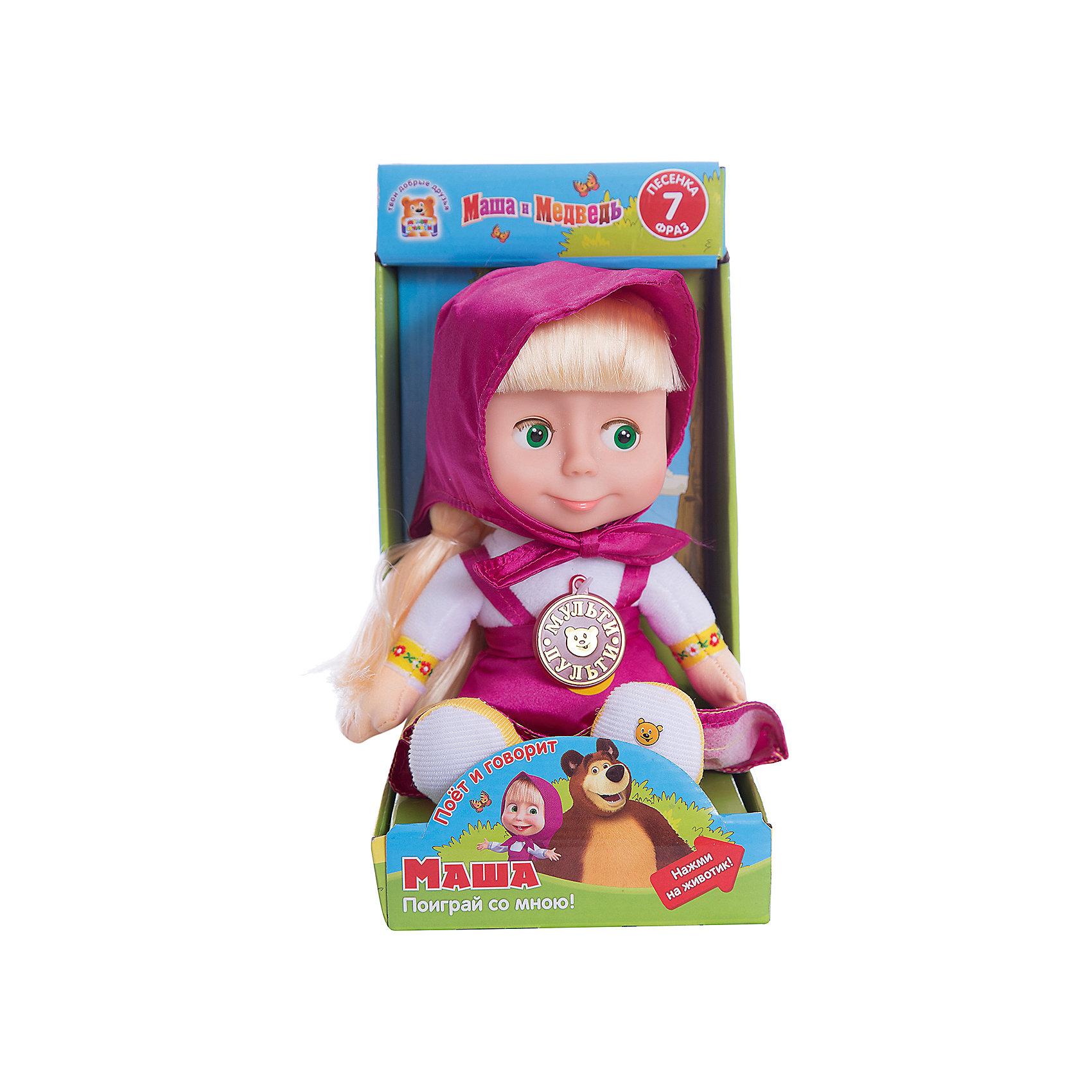 Мягкая игрушка Маша, Маша и Медведь, МУЛЬТИ-ПУЛЬТИМягкие куклы<br>Мягкая игрушка Маша, Маша и Медведь, придется по душе всем юным поклонникам популярного мультсериала Маша и Медведь. Маша - озорная девочка, которая дружит с мишкой и часто попадает в забавные ситуации. Внешний вид куколки полностью соответствует своему мультперсонажу. Маша одета в длинный розовый сарафан и розовый платочек. Если нажать кукле на животик она оживет: произносит 7 фраз и поет песенку голосом своего персонажа из мультфильма. Лицо игрушки выполнено из пластика, туловище мягконабивное, глаза закрываются. Очаровательная кукла станет замечательным другом Вашему ребенку, поможет в развитии фантазии, воображения и тактильного восприятия.<br><br>Дополнительная информация:<br><br>- Материал: пластик, текстиль.<br>- Требуются батарейки: 3 х AA (входят в комплект).<br>- Размер куклы: 29 см.<br>- Вес: 0,47 кг.<br><br>Мягкую игрушку Маша, Маша и Медведь, Мульти-Пульти, можно купить в нашем интернет-магазине.<br><br>Ширина мм: 140<br>Глубина мм: 280<br>Высота мм: 170<br>Вес г: 470<br>Возраст от месяцев: 36<br>Возраст до месяцев: 144<br>Пол: Женский<br>Возраст: Детский<br>SKU: 4546568