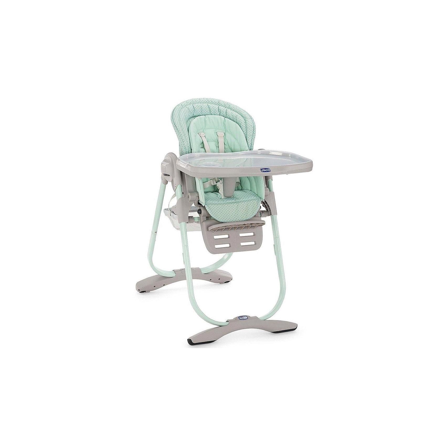 Стульчик для кормления Polly Magic Aquarelle, ChiccoСтульчик для кормления Polly Magic Aquarelle, Chicco (Чико), обеспечит комфорт и безопасность Вашего малыша во время кормления. Спинка сиденья регулируется в 3 положениях (сидя, полусидя, лежа), что позволяет использовать стульчик как для кормления так и для игр и сна. Для новорожденных детей до 6 месяцев можно использовать стульчик как шезлонг, установив спинку в положении полулежа и прикрепив дугу с разноцветными игрушками. Для детей возрастом от 6 до 12 месяцев его можно превратить в высокий детский стульчик. Удобное эргономичное сиденье оснащено регулируемыми 5-точечными ремнями безопасности, внутри имеется съемный мягкий вкладыш с набивкой. Высота стула регулируется в 6 положениях. Подножка также регулируется в 3-х положениях по высоте. <br><br>Широкий съемный столик имеет крышку с отделением для кружки или стакана, которую можно снять и использовать основную поверхность для игр и занятий. Столик легко снимается нажатием одной кнопки. Для детей от года до 3 лет стул можно использовать без столика для<br>кормления, придвинув его к столу для взрослых. Внизу стульчика крепится вместительная корзина для детских принадлежностей. Тканевые детали снимаются для чистки. Стульчик легко складывается с помощью кнопки регулировки и складывания Easy Touch и занимает мало места при хранении.<br><br>Дополнительная информация:<br><br>- Цвет: Aquarelle (зеленый).<br>- Материал: пластик, металл, текстиль.<br>- Размер в разложенном состоянии: 104,5 х 63,5 х 85 см. <br>- Размер в сложенном состоянии: 100 х 55 х 27 см. <br>- Вес: 12,535 кг.<br><br>Стульчик для кормления Polly Magic Aquarelle, Chicco (Чико), можно купить в нашем интернет-магазине.<br><br>Ширина мм: 560<br>Глубина мм: 320<br>Высота мм: 630<br>Вес г: 12535<br>Цвет: аквамарин<br>Возраст от месяцев: 0<br>Возраст до месяцев: 36<br>Пол: Унисекс<br>Возраст: Детский<br>SKU: 4546660