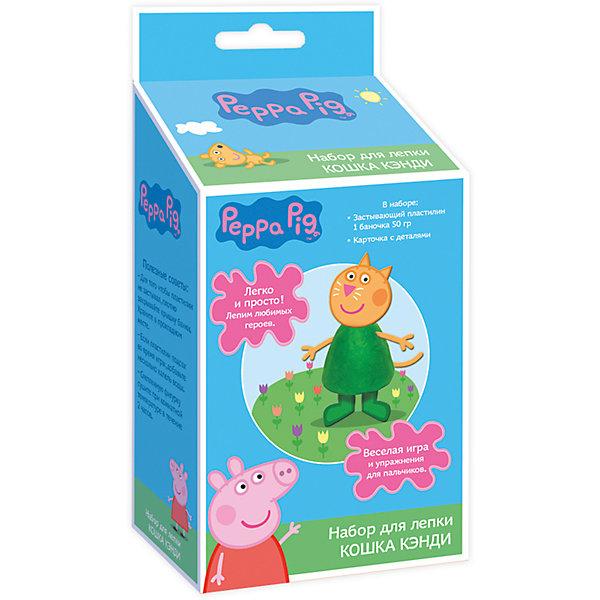 Набор для лепки  «Котенок Кэнди», Свинка ПеппаНаборы для лепки<br>С набором для лепки «Peppa Pig» малыши легко смогут создать Котенка Кэнди из любимого мультфильма «Свинка Пеппа». Скатайте из пластилина конус, вставьте в него голову, ручки, ножки и хвостик  – ура, фигурка Кэнди готова! Оставьте ее на воздухе на несколько часов: она засохнет, и с ней можно будет играть, как с настоящей игрушкой! А теперь лепите пластилиновые лепешечки и формочкой на крышке выдавливайте героя мультфильма. Во время такого интересного занятия ребята активно тренируют пальчики, развивают воображение, цветовое и тактильное восприятие. <br><br>Дополнительная информация:<br><br>- Материал: пластилин, картон, пластик. <br>- Комплектация: 1 баночка застывающего пластилина (50 г) с крышкой в виде формочки героя мультфильма, 1 карточка с картонными деталями для лепки Кэнди. <br>- Размер упаковки: 19 х 9 х 5,5 см.<br><br>Набор для лепки  «Котенок Кэнди» можно купить в нашем магазине.<br>Ширина мм: 90; Глубина мм: 55; Высота мм: 190; Вес г: 105; Возраст от месяцев: 36; Возраст до месяцев: 84; Пол: Унисекс; Возраст: Детский; SKU: 4547371;