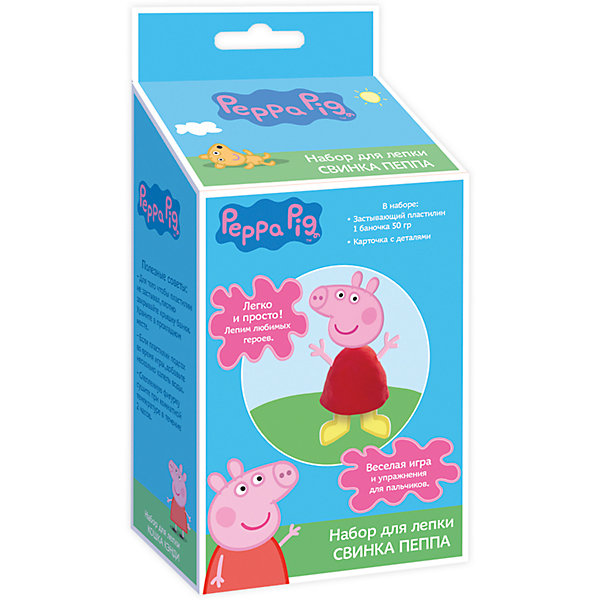 Набор для лепки  «Свинка Пеппа»Наборы для лепки<br>С набором для лепки «Peppa Pig» малыши легко смогут создать главную героиню любимого мультфильма «Свинка Пеппа». Скатайте из пластилина конус, вставьте в него голову, ручки, ножки и хвостик  – ура, фигурка Пеппы готова! Оставьте ее на воздухе на несколько часов: она засохнет, и с ней можно будет играть, как с настоящей игрушкой! А теперь лепите пластилиновые лепешечки и формочкой на крышке выдавливайте героя мультфильма. Во время такого интересного занятия ребята активно тренируют пальчики, развивают воображение, цветовое и тактильное восприятие. <br><br>Дополнительная информация:<br><br>- Материал: пластилин, картон, пластик. <br>- Комплектация: 1 баночка застывающего пластилина (50 г) с крышкой в виде формочки героя мультфильма, 1 карточка с картонными деталями для лепки Пеппы. <br>- Размер упаковки: 19 х 9 х 5,5 см.<br><br>Набор для лепки  «Свинка Пеппа»  можно купить в нашем магазине.<br>Ширина мм: 90; Глубина мм: 55; Высота мм: 190; Вес г: 105; Возраст от месяцев: 36; Возраст до месяцев: 84; Пол: Унисекс; Возраст: Детский; SKU: 4547372;