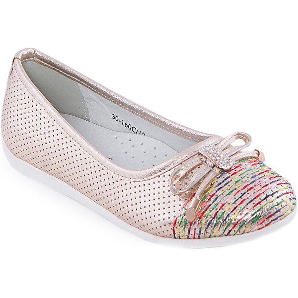 Туфли для девочки Indigo kidsТуфли<br>Туфли для девочки от известного бренда Indigo kids <br> <br>Очень красивые золотистые туфли-балетки отлично подойдут к праздничному наряду, а также они внесут яркую нотку в будничный ансамбль. Туфли легко надеваются, комфортно садятся по ноге, дают коже дышать. <br> <br>Особенности модели: <br> <br>- цвет: золотой; <br>- стильный дизайн; <br>- удобная колодка; <br>- каблук: нет; <br>- подкладка из натуральной кожи; <br>- перфорация на изделии, обеспечивающая вентиляцию; <br>- украшение - бант из кожи, стразы, яркая прошивка на носке; <br>- устойчивая нескользящая подошва; <br>- без застежки. <br> <br>Дополнительная информация: <br> <br>Состав: <br> <br>верх – искусственная кожа; <br>подкладка - натуральная кожа; <br>подошва - ТЭП. <br> <br>Туфли для девочки Indigo kids (Индиго Кидс) можно купить в нашем магазине.<br><br>Ширина мм: 227<br>Глубина мм: 145<br>Высота мм: 124<br>Вес г: 325<br>Цвет: золотой<br>Возраст от месяцев: 120<br>Возраст до месяцев: 132<br>Пол: Женский<br>Возраст: Детский<br>Размер: 34,30,31,35,33,32<br>SKU: 4547740