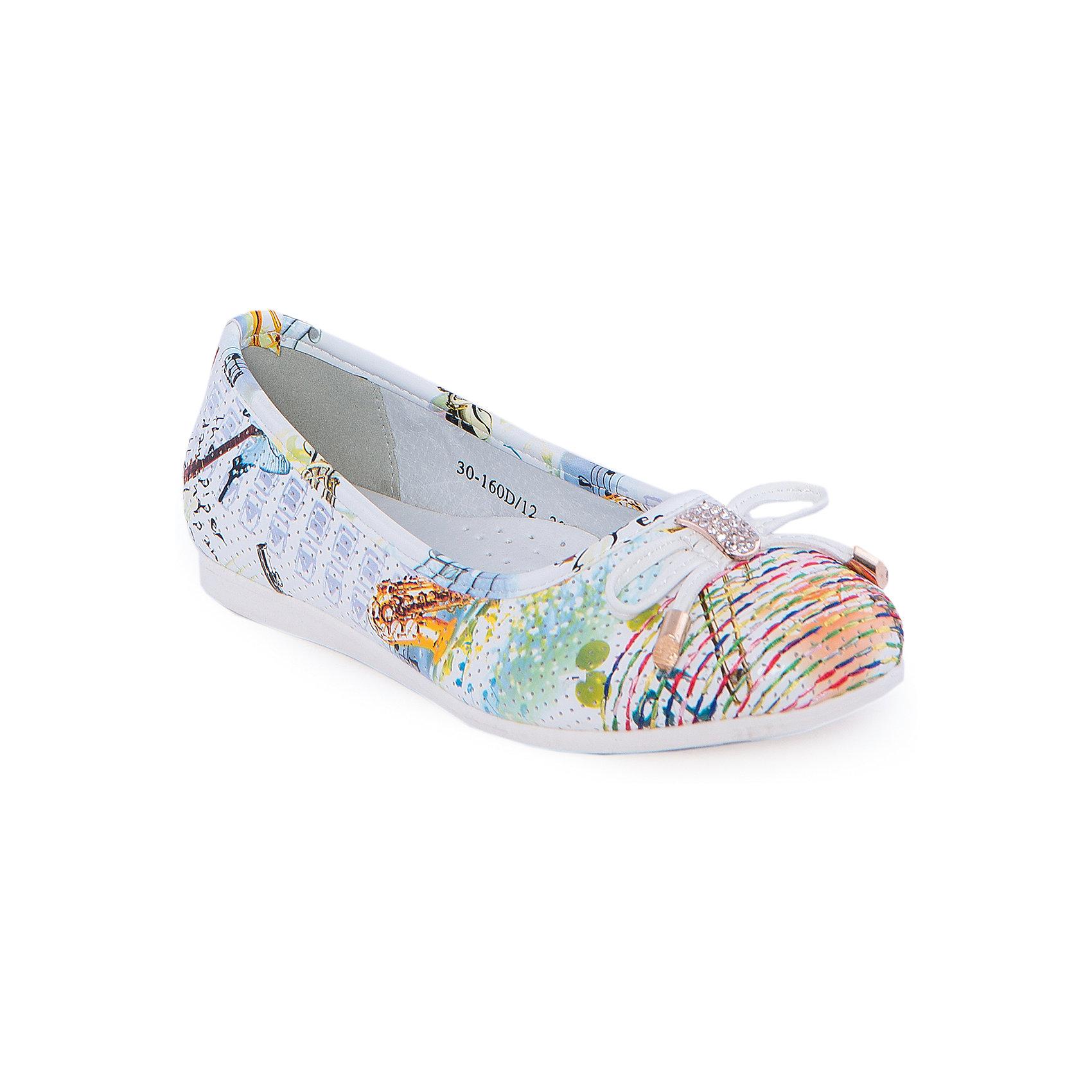 Балетки для девочки Indigo kidsБалетки<br>Туфли для девочки от известного бренда Indigo kids <br> <br>Яркие эффектные туфли-балетки отлично подойдут к праздничному наряду, а также они внесут яркую нотку в будничный ансамбль. Туфли легко надеваются, комфортно садятся по ноге, дают коже дышать. <br> <br>Особенности модели: <br> <br>- цвет: разноцветный; <br>- стильный дизайн; <br>- удобная колодка; <br>- каблук: нет; <br>- подкладка из натуральной кожи; <br>- перфорация на изделии, обеспечивающая вентиляцию; <br>- украшение - бант из кожи, стразы, яркая прошивка на носке; <br>- устойчивая нескользящая подошва; <br>- без застежки. <br> <br>Дополнительная информация: <br> <br>Состав: <br> <br>верх – искусственная кожа; <br>подкладка - натуральная кожа; <br>подошва - ТЭП. <br> <br>Туфли для девочки Indigo kids (Индиго Кидс) можно купить в нашем магазине.<br><br>Ширина мм: 227<br>Глубина мм: 145<br>Высота мм: 124<br>Вес г: 325<br>Цвет: белый<br>Возраст от месяцев: 96<br>Возраст до месяцев: 108<br>Пол: Женский<br>Возраст: Детский<br>Размер: 32,34,33,31,30,35<br>SKU: 4547747
