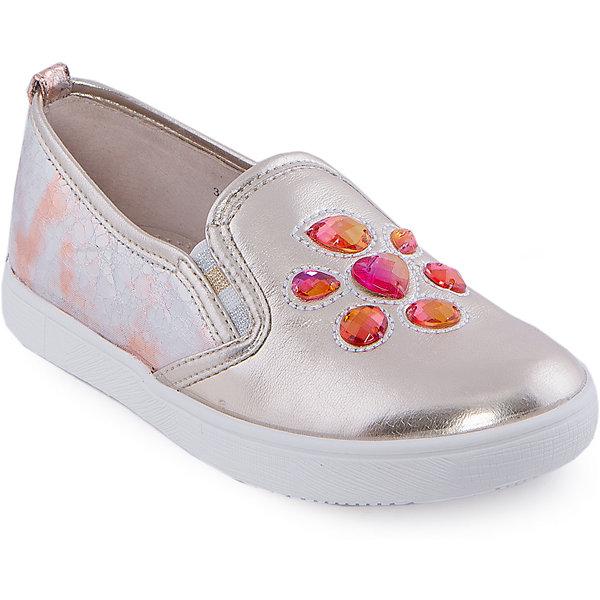 Слипоны для девочки Indigo kidsНарядная обувь<br>Мокасины для девочки от известного бренда Indigo kids <br> <br>Эффектные золотистые мокасины прекрасно разнообразят гардероб девочки весной и летом. Они очень оригинально и стильно смотрятся! Подойдут и к джинсам, и к юбке! Мокасины легко надеваются, комфортно садятся по ноге, дают коже дышать. <br> <br>Особенности модели: <br> <br>- цвет: золотой; <br>- стильный дизайн; <br>- удобная колодка; <br>- каблук: нет; <br>- подкладка из натуральной кожи; <br>- передняя часть украшена искусственными драгоценными камнями; <br>- задняя часть из кожи с фактурной имитацией леопардового рисунка; <br>- устойчивая нескользящая подошва; <br>- без застежки. <br> <br>Дополнительная информация: <br> <br>Состав: <br> <br>верх – искусственная кожа; <br>подкладка - натуральная кожа; <br>подошва - ТЭП. <br> <br>Мокасины для девочки Indigo kids (Индиго Кидс) можно купить в нашем магазине.<br><br>Ширина мм: 227<br>Глубина мм: 145<br>Высота мм: 124<br>Вес г: 325<br>Цвет: золотой<br>Возраст от месяцев: 120<br>Возраст до месяцев: 132<br>Пол: Женский<br>Возраст: Детский<br>Размер: 34,36,32,31,33,35<br>SKU: 4547768