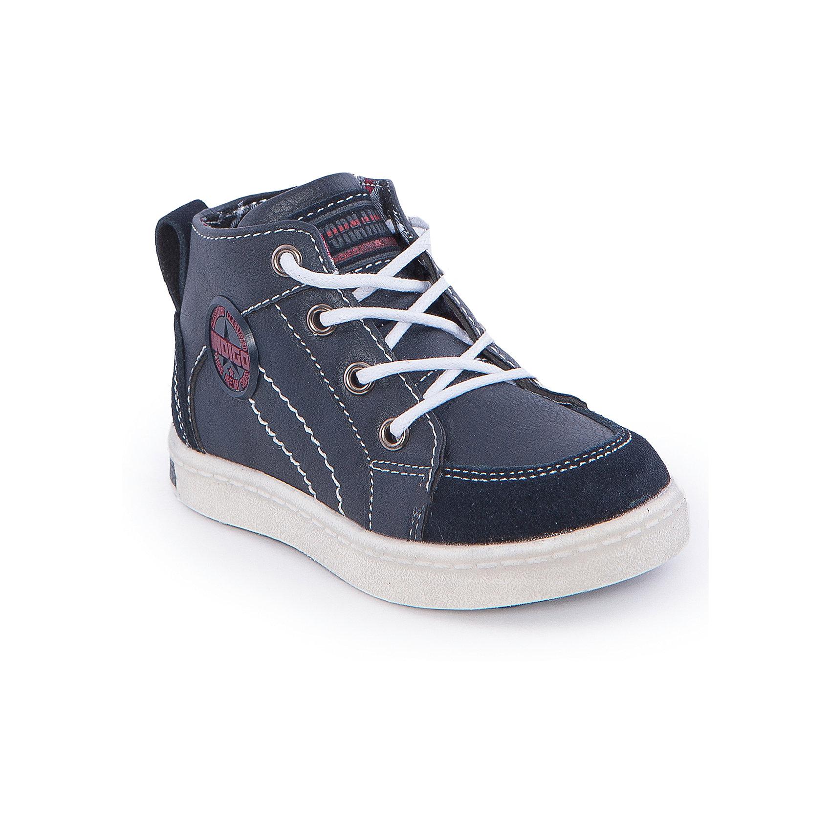 Ботинки для девочки Indigo kidsОбувь для малышей<br>Ботинки для мальчика от известного бренда Indigo kids <br> <br>Оригинальные ботинки с завышенным голенищем созданы для прохладной погоды. Они очень стильно смотрятся. Ботинки легко надеваются, комфортно садятся по ноге, дают коже дышать. <br> <br>Особенности модели: <br> <br>- цвет: синий; <br>- стильный дизайн; <br>- удобная колодка; <br>- каблук; <br>- двойная контрастная прошивка; <br>- декорированы нашивкой; <br>- устойчивая нескользящая подошва; <br>- застежка: шнуровка и молния. <br> <br>Дополнительная информация: <br> <br>Состав: <br> <br>верх – искусственная кожа; <br>подкладка - текстиль; <br>подошва - ТЭП. <br> <br>Температурный режим: <br>от +5°С до +20°С <br> <br>Ботинки для мальчика Indigo kids (Индиго Кидс) можно купить в нашем магазине.<br><br>Ширина мм: 262<br>Глубина мм: 176<br>Высота мм: 97<br>Вес г: 427<br>Цвет: синий<br>Возраст от месяцев: 15<br>Возраст до месяцев: 18<br>Пол: Мужской<br>Возраст: Детский<br>Размер: 22,27,26,25,24,23<br>SKU: 4547873