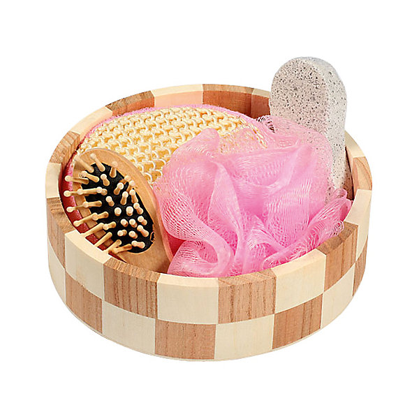 Набор для ванной и бани Розовое облако (3 предмета)Товары для купания<br>Набор для ванной приятный подарок на любой праздник. В набор входит удобная маленькая мочалка для купания (из сизаля), мочалка для купания из полиэтилена, пемза для ухода за кожей, массажная щетка для волос из дерева. Все предметы упакованы в оригинальную деревянную коробку, которая сможет служить шкатулкой для различных мелочей. <br><br>Дополнительная информация:<br><br>- Материал: древесина тополя, древесина павлонии, полиэтилен, пемза, сизаль, текстиль. <br>- Размер упаковки: 17,5х6 см.<br>- Комплектация: маленькая мочалка, большая мочалка, пемза, щетка для волос. <br><br>Набор для ванной и бани Розовое облако (4 предмета) можно купить в нашем магазине.<br>Ширина мм: 175; Глубина мм: 60; Высота мм: 60; Вес г: 300; Возраст от месяцев: 36; Возраст до месяцев: 2147483647; Пол: Женский; Возраст: Детский; SKU: 4548380;