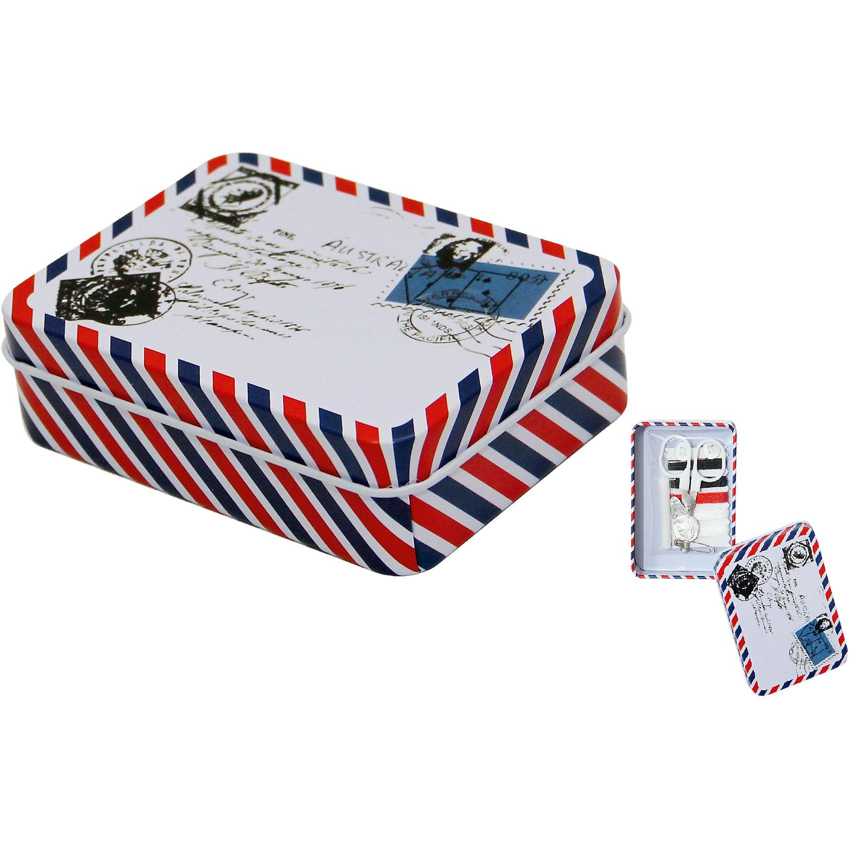 Набор для рукоделия Письмо (5 предметов), Magic HomeНабор для рукоделия - прекрасный подарок юным мастерицам! В нем есть все, чтобы юная рукодельница освоила навыки шитья: набор швейных ниток, две иглы в футляре, английская булавка, пуговица. Все детали набора упакованы в яркую металлическую шкатулку, поэтому они не потеряются и всегда будут под рукой. прекрасный подарок для девочки, развивающий моторику рук, внимание, усидчивость и фантазию. <br><br>Дополнительная информация:<br><br>- Материал: металл, пластик, текстиль, бумага, полиэстер.<br>- Комплектация: швейные нитки (5 цветов, 100%) игла ручная из высокоуглеродистой стали в футляре (2шт), английская булавка из  высокоуглеродистой стали (1шт), пуговица.<br>- Размер упаковки: 9,5х7х3 см.<br><br>Набор для рукоделия Письмо (5 предметов) можно купить в нашем магазине.<br><br>Ширина мм: 95<br>Глубина мм: 70<br>Высота мм: 30<br>Вес г: 56<br>Возраст от месяцев: 216<br>Возраст до месяцев: 1200<br>Пол: Унисекс<br>Возраст: Детский<br>SKU: 4548387