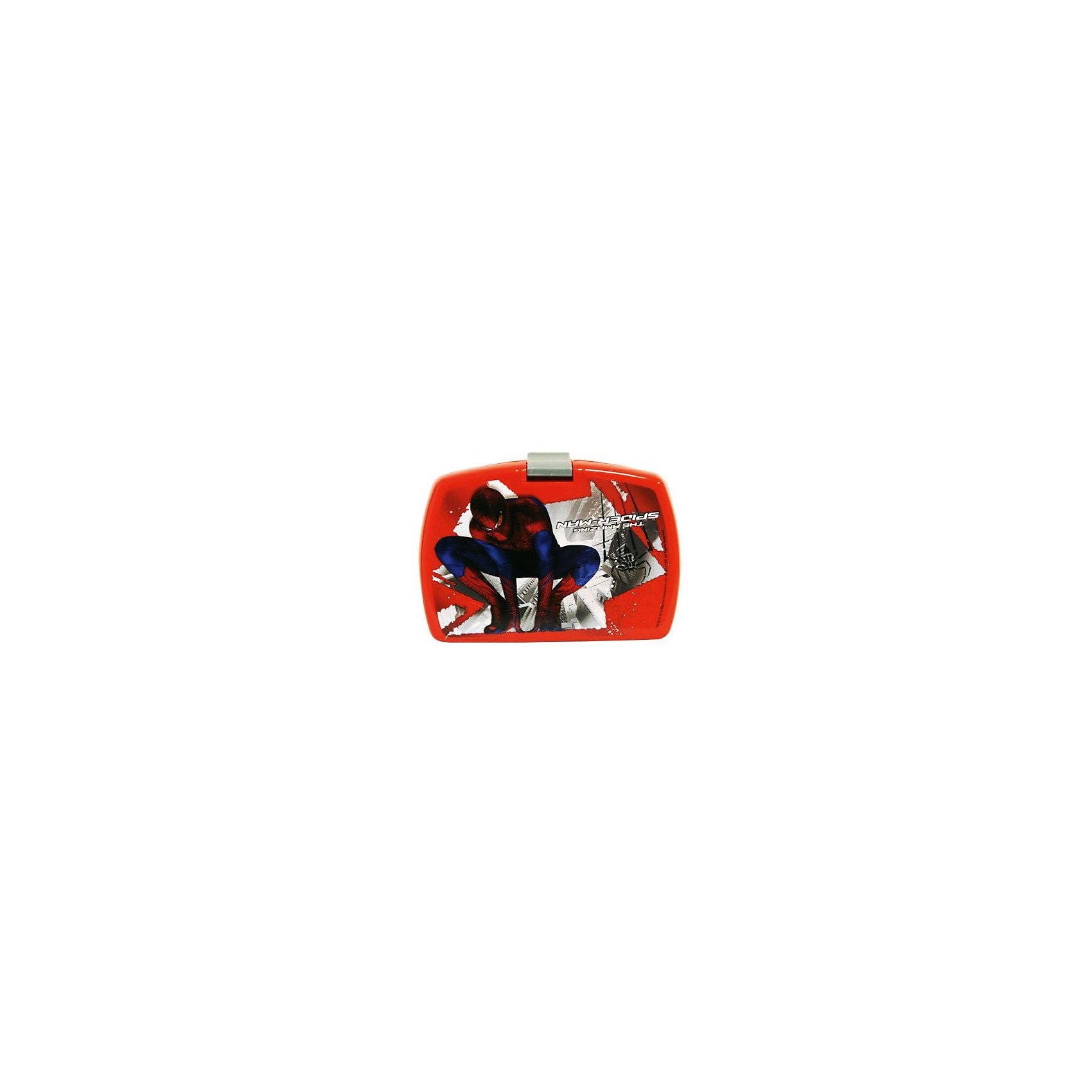 Бутербродница Человек-Паук 16*10*7 смБутербродница Человек-Паук изготовлена из прочного гипоаллергенного пластика абсолютно безопасного для детей. Пластиковая посуда удобна и практична, ее можно брать с собой куда угодно, не беспокоясь о том, что она может разбиться. Яркий дизайн и изображения любимых героев обязательно порадуют вашего ребенка. Бутербродница - идеальный вариант для хранения детских завтраков, она оснащена удобным замком, с которым сможет справиться даже маленький ребенок, а благодаря твердой конструкции пища не помнется и не раскрошится в рюкзаке или сумке. <br><br>Дополнительная информация:<br><br>- Материал: пластик.<br>- Размер: 16?10?7 см.<br>- 2 емкости внутри.<br>- Удобный замок.<br><br>Бутербродницу Человек-Паук (Spider-Man), 16х10х7 см, можно купить в нашем магазине.<br><br>Ширина мм: 160<br>Глубина мм: 100<br>Высота мм: 70<br>Вес г: 150<br>Возраст от месяцев: 36<br>Возраст до месяцев: 144<br>Пол: Унисекс<br>Возраст: Детский<br>SKU: 4548417