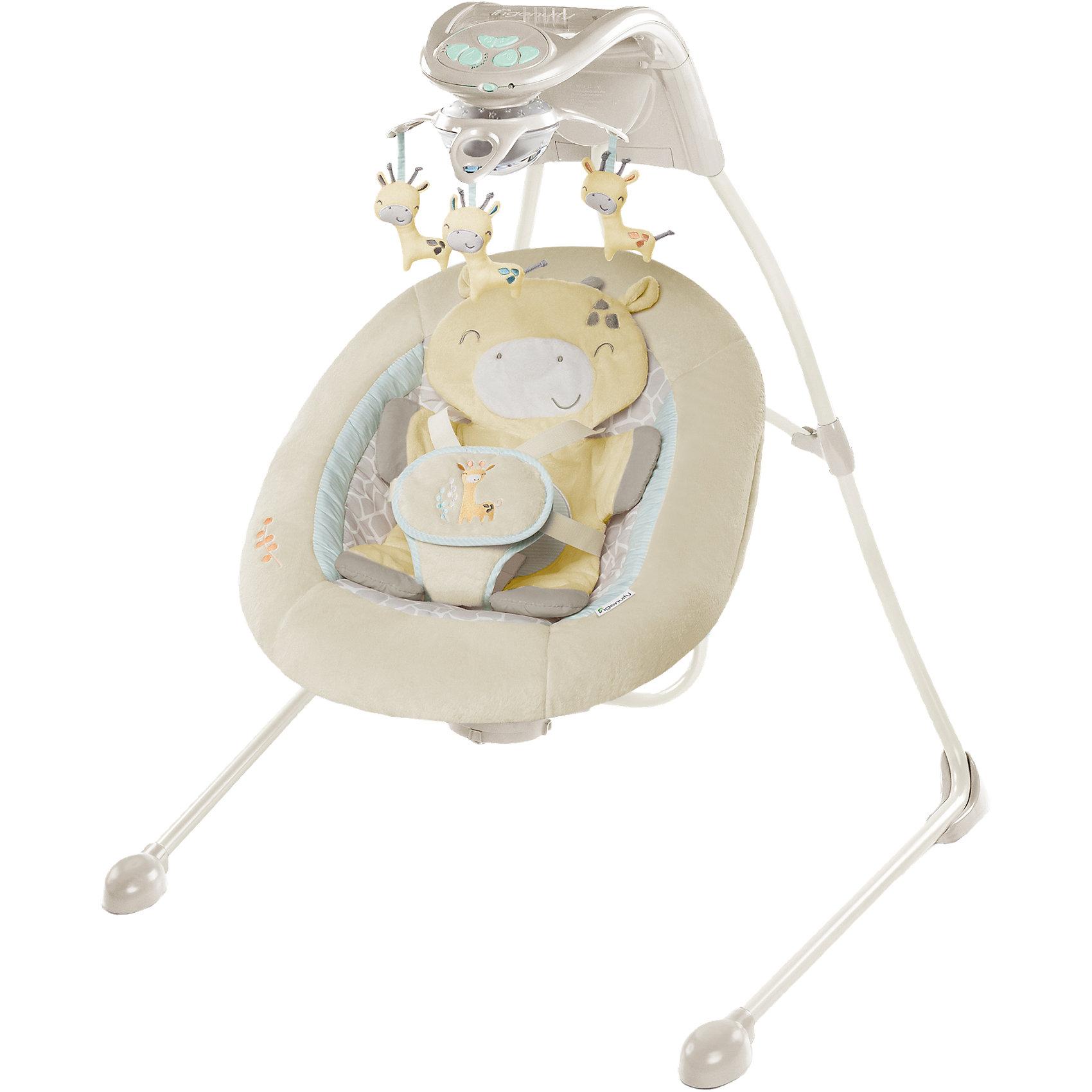 Качели InGenuity «Жирафик», Bright StartsКачели электронные<br>Сидение поворачивается на 180° и устанавливается в три позиции (прямо, лицом влево и вправо).<br>8 мелодий и 3 звука природы с регулятором громкости.<br>Функция Connect Me, которая позволяет подключать смартфон или MP3-плеер (приобретается отдельно) и играть персональную музыку для ребенка, смотреть видео и фото.<br>Электронный мобиль с 3-мя игрушками и светящимися элементами.<br>6 скоростей качания с таймером на 30, 45, 60 мин.<br>Может раскачиваться в 2-х направлениях: вперед-назад как качели или из стороны в сторону как классическая колыбель.<br>5-точечные ремни безопасности.<br>Чехол можно стирать в стиральной машине с мягкими моющими средствами.<br>Максимальный вес: до 9 кг.<br><br>Ширина мм: 740<br>Глубина мм: 470<br>Высота мм: 270<br>Вес г: 10814<br>Возраст от месяцев: 0<br>Возраст до месяцев: 6<br>Пол: Унисекс<br>Возраст: Детский<br>SKU: 4548791