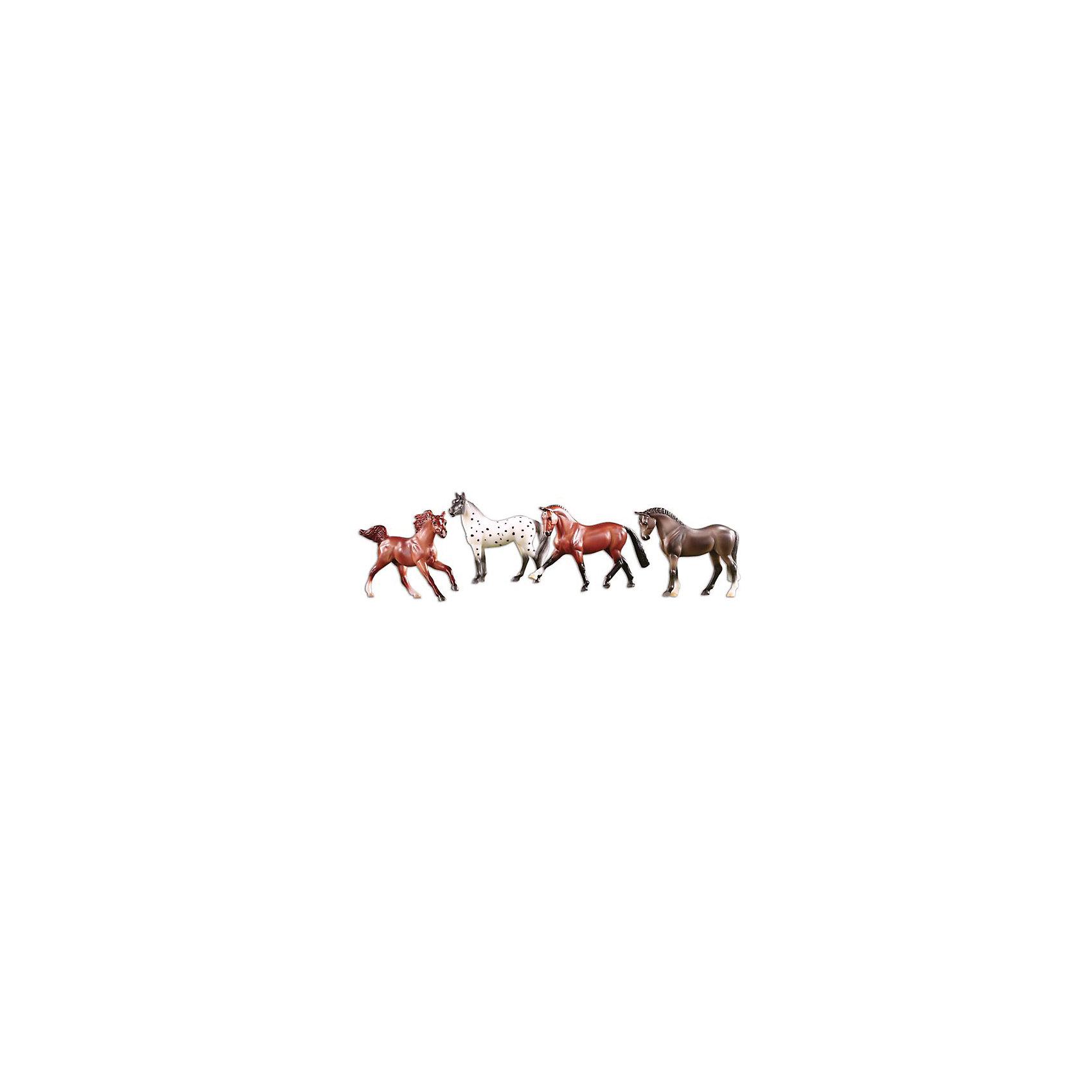 Breyer Набор из 4-х лошадей спортивных пород, Breyer игрушка для животных каскад барабан с колокольчиком 4 х 4 х 4 см