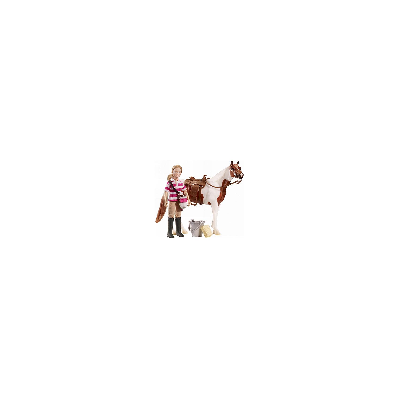 Набор Кукла Ева с аксессуарами для лошади, BreyerНабор Кукла Ева с аксессуарами для лошади, Breyer, станет отличным подарком для всех юных любительниц этих грациозных животных. В комплекте Вы найдете очаровательную всадницу Еву и разнообразные аксессуары для ее питомца - лошадки (продается отдельно!). У куклы светлые волосы и симпатичное личико. Она одета в полосатую спортивную футболку-поло, брюки и сапоги для верховой езды. Благодаря шарнирным конечностям куклу можно посадить в седло лошадки и придать практически любую позу. Реалистичные аксессуары, такие как вестерн-седло, ведро и губка для ухода за лошадью, идеально впишутся в игровые сюжеты о жизни лошадок.<br><br>Дополнительная информация:<br><br>- В комплекте: кукла Ева, вестерн-седло, уздечка, ведро, губка.<br>- Фигурки лошадей продаются отдельно!<br>- Материал: пластик, текстиль.<br>- Масштаб: 1:12.<br>- Размер куклы: 15 см.<br>- Размер упаковки: 6 х 14,5 х 25 см.<br>- Вес: 150 гр.<br><br>Набор Кукла Ева с аксессуарами для лошади, Breyer, можно купить в нашем интернет-магазине.<br><br>Ширина мм: 60<br>Глубина мм: 145<br>Высота мм: 250<br>Вес г: 150<br>Возраст от месяцев: 36<br>Возраст до месяцев: 192<br>Пол: Женский<br>Возраст: Детский<br>SKU: 4552543