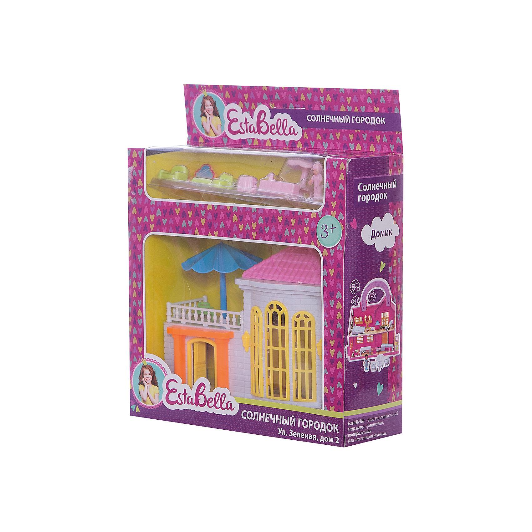 Домик Солнечный городок с мебелью, EstaBellaИгрушечные домики и замки<br>Домик Солнечный городок с мебелью, EstaBella (Эстабелла) – это красивый домик с мебелью для увлекательных сюжетно-ролевых игр.<br>Домик Солнечный городок с мебелью перенесет вашего ребенка в увлекательный мир игры, фантазии и воображения. Домик выполнен в нежных тонах, оснащен всем необходимым для игры. С помощью данной игрушки ребенок сможет разыграть разнообразные ситуации из жизни. Сюжетно-ролевая игра способствует развитию фантазии и воображения, творческого и логического мышления, речи и навыков общения. Игрушка выполнена из безопасного для детей пластика.<br><br>Дополнительная информация:<br><br>- В наборе: домик, мебель, 2 фигурки людей<br>- Материал: пластик<br>- Размер упаковки: 20х7х17 см.<br>- Вес: 239 гр.<br><br>Домик Солнечный городок с мебелью, EstaBella (Эстабелла) можно купить в нашем интернет-магазине.<br><br>Ширина мм: 200<br>Глубина мм: 70<br>Высота мм: 170<br>Вес г: 239<br>Возраст от месяцев: 36<br>Возраст до месяцев: 72<br>Пол: Женский<br>Возраст: Детский<br>SKU: 4552897
