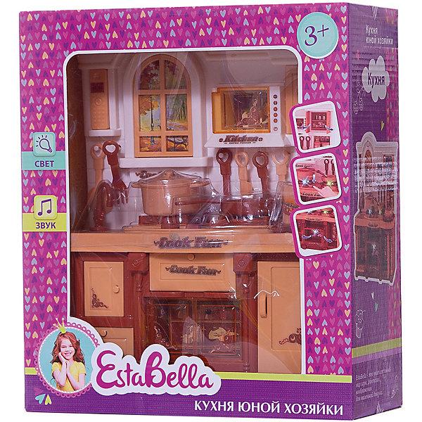 Кухня юной хозяйки BellaNatura, EstaBellaДетские кухни<br>Кухня юной хозяйки BellaNatura, EstaBella (Эстабелла) – это красивая кухня с различными световыми и звуковыми эффектами.<br>Кухня юной хозяйки BellaNatura от EstaBella (Эстабелла) приведет в восторг вашу малышку. Здесь все как в настоящей кухне — варочная панель с подсветкой на 2 конфорки; духовка с открывающейся дверцей, при открывании которой, включается подсветка; раковина с краном (без воды); крючки для размещения кухонных принадлежностей; полки для продуктов; разделочный столик - все это позволит почувствовать себя настоящим поваром. Для большей реалистичности имеется имитация окна. Разнообразные аксессуары, которые входят в набор, сделают игру особенно увлекательной. Дизайн кухни выполнен в коричневых тонах. Имеются звуковые эффекты.<br><br>Дополнительная информация:<br><br>- В наборе: кухня, аксессуары<br>- Материал: пластмасса<br>- Размер упаковки: 29,5х10,5х25,8 см.<br>- Вес: 722 гр.<br><br>Кухню юной хозяйки BellaNatura, EstaBella (Эстабелла) можно купить в нашем интернет-магазине.<br>Ширина мм: 295; Глубина мм: 105; Высота мм: 258; Вес г: 722; Возраст от месяцев: 36; Возраст до месяцев: 72; Пол: Женский; Возраст: Детский; SKU: 4552901;