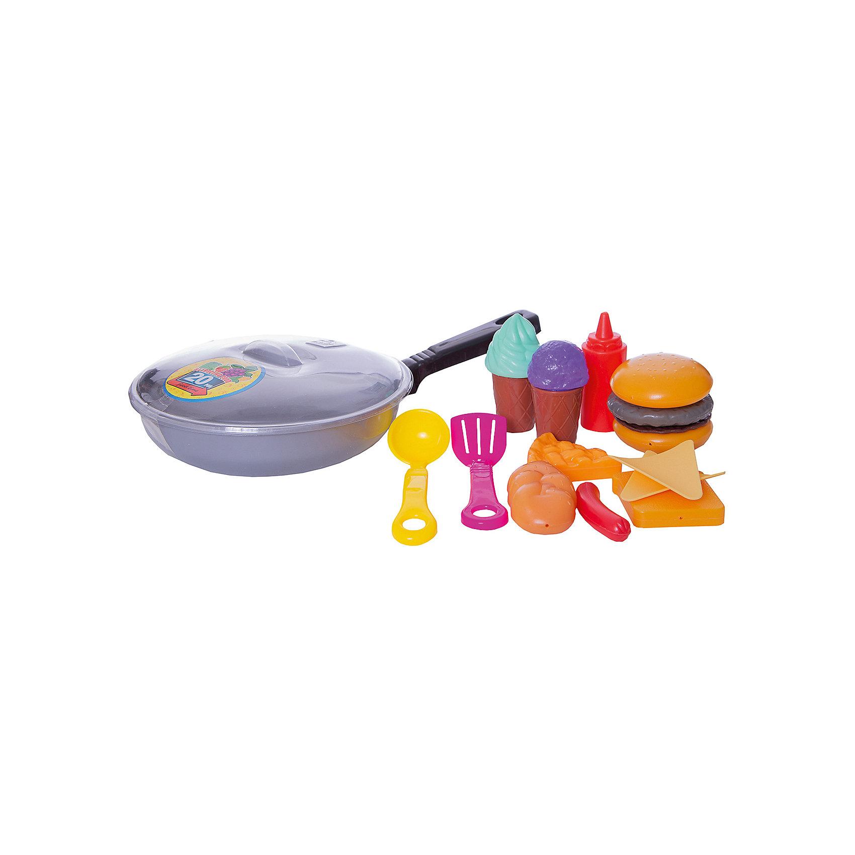 Набор Сковородка с  продуктами, EstaBellaНабор Сковородка с  продуктами, EstaBella (Эстабелла) – это красочный комплект кухонной утвари и муляжей продуктов для увлекательных сюжетно-ролевых игр.<br>Набор Сковородка с продуктами от компании EstaBella (Эстабелла) подарит вашей девочке увлекательный мир ролевой игры, фантазии и воображения. Играя с ним, она будет готовиться к взрослой жизни и станет более самостоятельной, уверенной и активной.  В комплект входят муляжи продуктов, а также шумовка, ложка и сковородка. С таким набором малышке будет легко придумать разнообразные игровые сюжеты. Все элементы набора изготовлены из качественного пластика и покрыты нетоксичными красками, а также не имеют острых углов.<br><br>Дополнительная информация:<br><br>- В наборе: сковородка, кухонная утварь, муляжи продуктов<br>- Материал: пластик<br>- Упаковка: сетка<br>- Размер упаковки: 30х5х18 см.<br>- Вес: 190 гр.<br><br>Набор Сковородка с  продуктами, EstaBella (Эстабелла) можно купить в нашем интернет-магазине.<br><br>Ширина мм: 300<br>Глубина мм: 50<br>Высота мм: 180<br>Вес г: 190<br>Возраст от месяцев: 36<br>Возраст до месяцев: 72<br>Пол: Женский<br>Возраст: Детский<br>SKU: 4552908