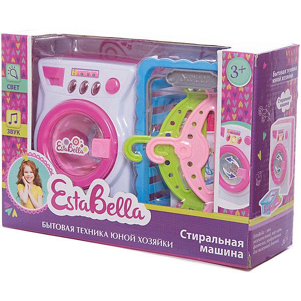 Игрушка Стиральная машина, EstaBellaИгрушечная бытовая техника<br>Игрушка Стиральная машина, EstaBella (Эстабелла) – непременно понравится вашей юной хозяйке.<br>Игрушка Стиральная машина с аксессуарами подарит вашей девочке увлекательный мир ролевой игры, фантазии и воображения. Играя с ней, она будет готовиться к взрослой жизни и станет более самостоятельной, уверенной и активной. Игрушка реалистична и обладает функциями настоящей стиральной машинки: имеется дверца с окошком, вращающийся барабан для одежды, отсек для стирального порошка. «Стирка» сопровождается характерным звуком работающей стиральной машины. На панели имеются кнопочки, с помощью которых можно включить звуковые и световые эффекты. После стирки одежду кукол можно сложит в корзину или повесить на вешалки. Набор прекрасно подойдет для сюжетно-ролевых игр. Изготовлен из высококачественной и безопасной пластмассы.<br><br>Дополнительная информация:<br><br>- В наборе: стиральная машина, 2 вешалки, корзина для белья<br>- Размер стиральной машины: 12х9х8 см.<br>- Работает от батареек<br>- Материал: пластмасса<br>- Размер упаковки: 25,5х18х9 см.<br><br>Игрушку Стиральная машина, EstaBella (Эстабелла) можно купить в нашем интернет-магазине.<br><br>Ширина мм: 255<br>Глубина мм: 180<br>Высота мм: 90<br>Вес г: 433<br>Возраст от месяцев: 36<br>Возраст до месяцев: 72<br>Пол: Женский<br>Возраст: Детский<br>SKU: 4552909