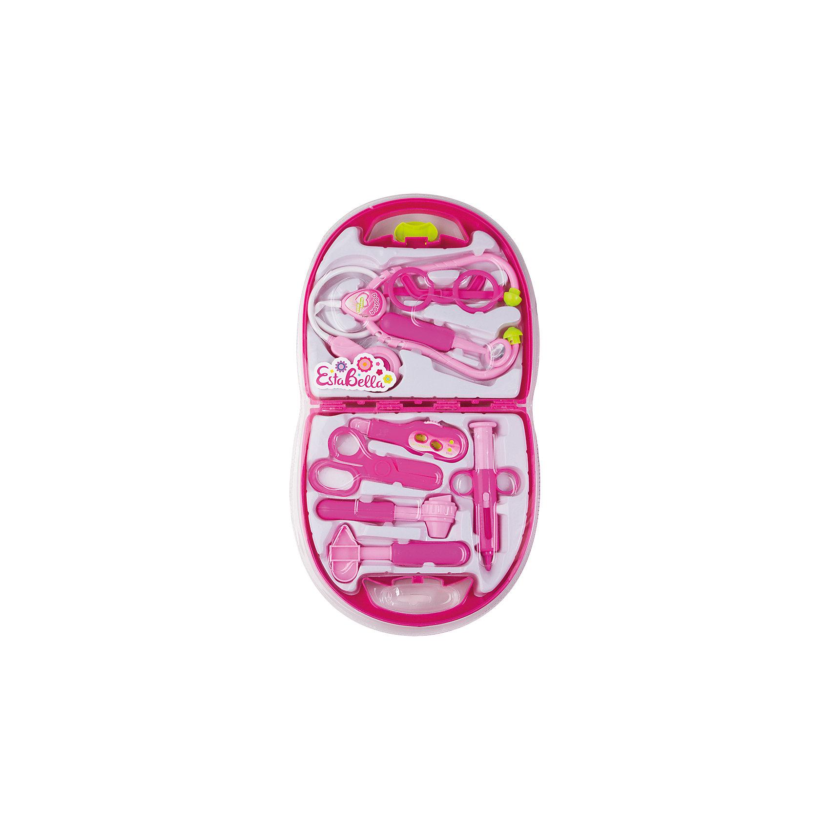 Чемоданчик доктора, EstaBellaСюжетно-ролевые игры<br>Чемоданчик доктора, EstaBella (Эстабелла) – это красочный набор для увлекательных сюжетно-ролевых игр.<br>Набор Чемоданчик доктора от компании EstaBella (Эстабелла) перенесет вашего ребенка в увлекательный мир игры, фантазии и воображения. В набор входит все необходимое для начинающего врача: молоточек, ножницы, шприц, фонендоскоп, глюкометр, ложечка и отоскоп. А чтобы все точно знали, что перед ними действительно доктор, малыш может одеть специальные круглые очки. Все элементы набора изготовлены из качественной пластмассы, не имеют острых углов и детально проработаны. Они упакованы в удобный чемоданчик с ручкой, в котором все предметы удобно хранить и легко переносить. Теперь игрушки вашего ребенка всегда будут здоровы!<br><br>Дополнительная информация:<br><br>- В наборе: очки; молоточек; ножницы; шприц; фонендоскоп; глюкомер; ложечка; отоскоп, чемоданчик<br>- Материал: пластмасса<br>- Размер упаковки: 42,5х22,8х3,8 см.<br><br>Набор Чемоданчик доктора, EstaBella (Эстабелла) можно купить в нашем интернет-магазине.<br><br>Ширина мм: 425<br>Глубина мм: 38<br>Высота мм: 228<br>Вес г: 1000<br>Возраст от месяцев: 36<br>Возраст до месяцев: 72<br>Пол: Женский<br>Возраст: Детский<br>SKU: 4552910