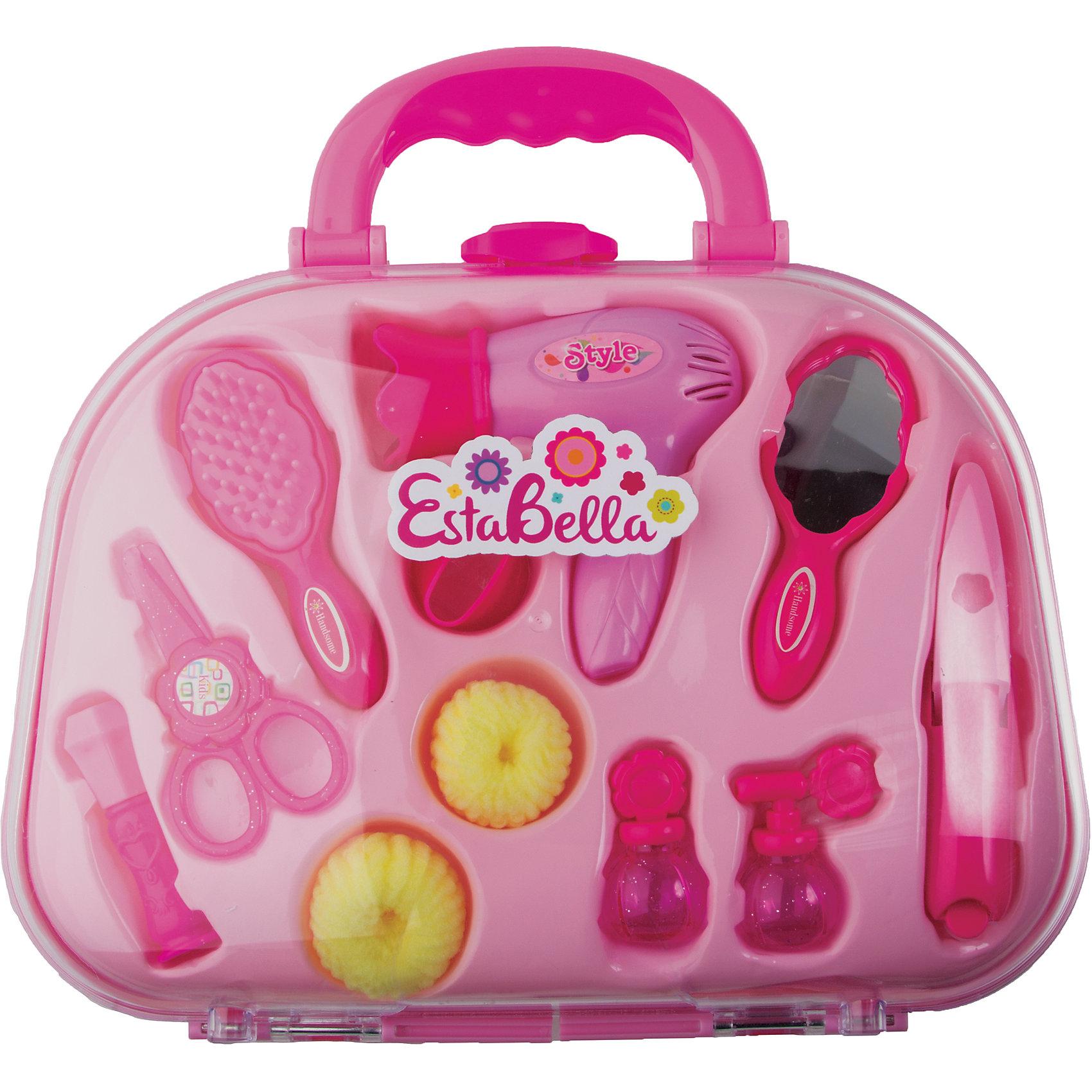 Чемоданчик юного стилиста, EstaBellaСюжетно-ролевые игры<br>Чемоданчик юного стилиста, EstaBella (Эстабелла) – это красочный набор для увлекательных сюжетно-ролевых игр.<br>Набор Чемоданчик юного стилиста от торговой марки EstaBella (Эстабелла) вызовет восторг у вашей малышки. Комплект включает в себя 10 аксессуаров, с помощью которых юный стилист сможет создавать модные образы своим игрушкам и куклам. Набор выполнен из прочной высококачественной пластмассы и имеет высокую степень детализации. Аксессуары упакованы в компактный чемоданчик с ручкой, в котором их удобно хранить и легко переносить. Замечательный набор юного стилиста сделает игру в парикмахерскую более реалистичной и поможет вашей крохе весело провести время.<br><br>Дополнительная информация:<br><br>- В наборе: фен; зеркало; расческа; 2 флакона духов; 2 резинки для волос; сменная насадка на фен; ножницы; прочие аксессуары<br>- Материал: пластмасса<br>- Размер упаковки: 28х8х21 см.<br><br>Набор Чемоданчик юного стилиста, EstaBella (Эстабелла) можно купить в нашем интернет-магазине.<br><br>Ширина мм: 280<br>Глубина мм: 80<br>Высота мм: 210<br>Вес г: 1000<br>Возраст от месяцев: 36<br>Возраст до месяцев: 72<br>Пол: Женский<br>Возраст: Детский<br>SKU: 4552911