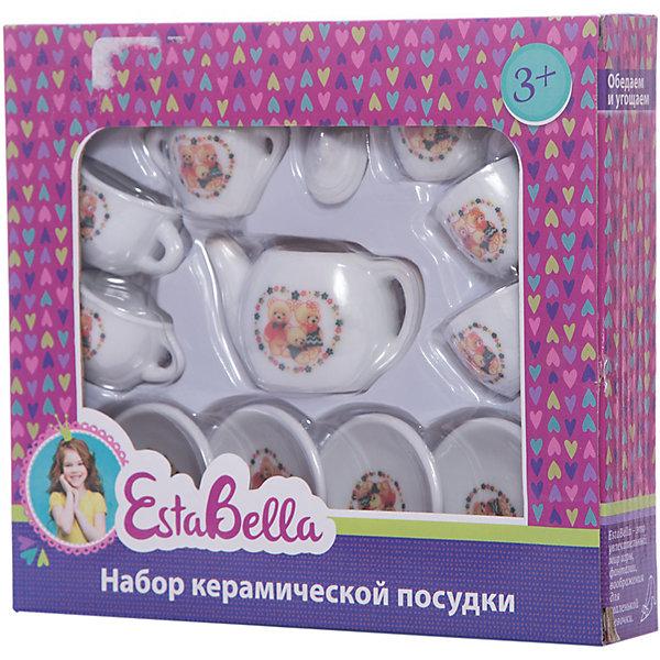 Керамическая посудка, EstaBellaДетские кухни<br>Керамическая посудка, EstaBella (Эстабелла) – этот красивый чайный сервис станет приятным сюрпризом для вашей девочки.<br>Керамическая посудка торговой марки EstaBella (Эстабелла) предназначена специально для кукольного чаепития на четыре персоны. Все предметы небольшого размера, поэтому они прекрасно разместятся на игрушечном столике. Каждый элемент декорирован рисунком с изображением забавных медвежат. Набор изготовлен из качественного материала. Керамическая посудка не займёт много места на игрушечном столике, а юная хозяйка научится правильно сервировать стол и приобретёт прекрасные манеры, которые так необходимы настоящей маленькой леди.<br><br>Дополнительная информация:<br><br>- В наборе: 4 блюдца; 4 чашки; чайник; сахарница; сливочник, крышка<br>- Количество предметов: 12<br>- Материал: керамика<br>- Размер упаковки: 20 х 4 х 18 см.<br><br>Керамическую посудку, EstaBella (Эстабелла) можно купить в нашем интернет-магазине.<br>Ширина мм: 200; Глубина мм: 40; Высота мм: 180; Вес г: 283; Возраст от месяцев: 36; Возраст до месяцев: 72; Пол: Женский; Возраст: Детский; SKU: 4552913;