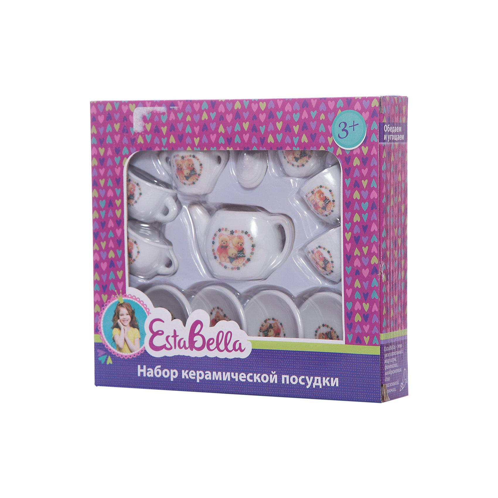Керамическая посудка, EstaBellaПосуда и аксессуары для детской кухни<br>Керамическая посудка, EstaBella (Эстабелла) – этот красивый чайный сервис станет приятным сюрпризом для вашей девочки.<br>Керамическая посудка торговой марки EstaBella (Эстабелла) предназначена специально для кукольного чаепития на четыре персоны. Все предметы небольшого размера, поэтому они прекрасно разместятся на игрушечном столике. Каждый элемент декорирован рисунком с изображением забавных медвежат. Набор изготовлен из качественного материала. Керамическая посудка не займёт много места на игрушечном столике, а юная хозяйка научится правильно сервировать стол и приобретёт прекрасные манеры, которые так необходимы настоящей маленькой леди.<br><br>Дополнительная информация:<br><br>- В наборе: 4 блюдца; 4 чашки; чайник; сахарница; сливочник, крышка<br>- Количество предметов: 12<br>- Материал: керамика<br>- Размер упаковки: 20 х 4 х 18 см.<br><br>Керамическую посудку, EstaBella (Эстабелла) можно купить в нашем интернет-магазине.<br><br>Ширина мм: 200<br>Глубина мм: 40<br>Высота мм: 180<br>Вес г: 283<br>Возраст от месяцев: 36<br>Возраст до месяцев: 72<br>Пол: Женский<br>Возраст: Детский<br>SKU: 4552913