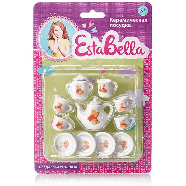 Керамическая посудка Чай вдвоем, EstaBellaДетские кухни<br>Керамическая посудка Чай вдвоем, EstaBella (Эстабелла) – этот красивый чайный сервис станет приятным сюрпризом для вашей девочки.<br>Керамическая посудка Чай вдвоем торговой марки EstaBella (Эстабелла) предназначена специально для кукольного чаепития на две персоны. Все предметы небольшого размера, поэтому они прекрасно разместятся на игрушечном столике. Каждый элемент декорирован очаровательными цветами, которые добавляют изящества всему сервизу. Набор изготовлен из качественного материала. Набор посуды Чай вдвоем не займёт много места на игрушечном столике, а юная хозяйка научится правильно сервировать стол и приобретёт прекрасные манеры, которые так необходимы настоящей маленькой леди.<br><br>Дополнительная информация:<br><br>- В наборе: 2 блюдца; 2 чашки; чайник с крышкой<br>- Материал: керамика<br>- Размер упаковки: 16 х 3 х 11 см.<br><br>Керамическую посудку Чай вдвоем, EstaBella (Эстабелла) можно купить в нашем интернет-магазине.<br>Ширина мм: 160; Глубина мм: 30; Высота мм: 110; Вес г: 660; Возраст от месяцев: 36; Возраст до месяцев: 72; Пол: Женский; Возраст: Детский; SKU: 4552914;