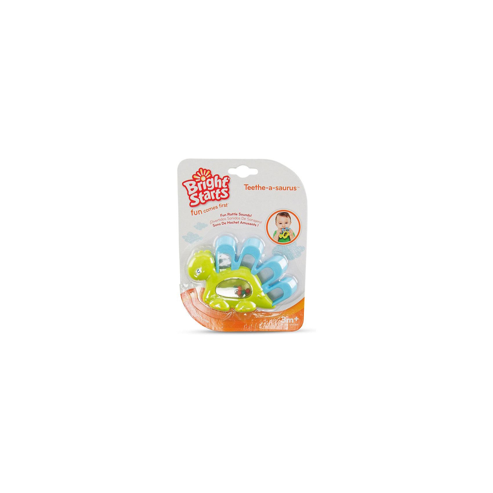 Прорезыватель для зубок Динозаврик, зеленый, Bright StartsПрорезыватели<br>Характеристики прорезывателя «Динозаврик»:<br><br>• размер прорезывателя: 15х11х2 см;<br>• материал: пластик;<br>• размер упаковки: 20х13х2 см;<br>• вес упаковки: 60 г.<br><br>Прорезыватель-динозаврик в пластиковом корпусе имеет мягкие рельефные пластинки на спине, под прозрачным окошком находятся цветные шарики, которые перекатываются при встряхивании игрушки и создают приятное шуршание. Прорезыватель массирует десны малыша, когда у крохи режутся зубки. <br><br>Прорезыватель для зубок Динозаврик, зеленый, Bright Starts можно купить в нашем интернет-магазине.<br><br>Ширина мм: 132<br>Глубина мм: 18<br>Высота мм: 193<br>Вес г: 76<br>Возраст от месяцев: 4<br>Возраст до месяцев: 36<br>Пол: Мужской<br>Возраст: Детский<br>SKU: 4553887
